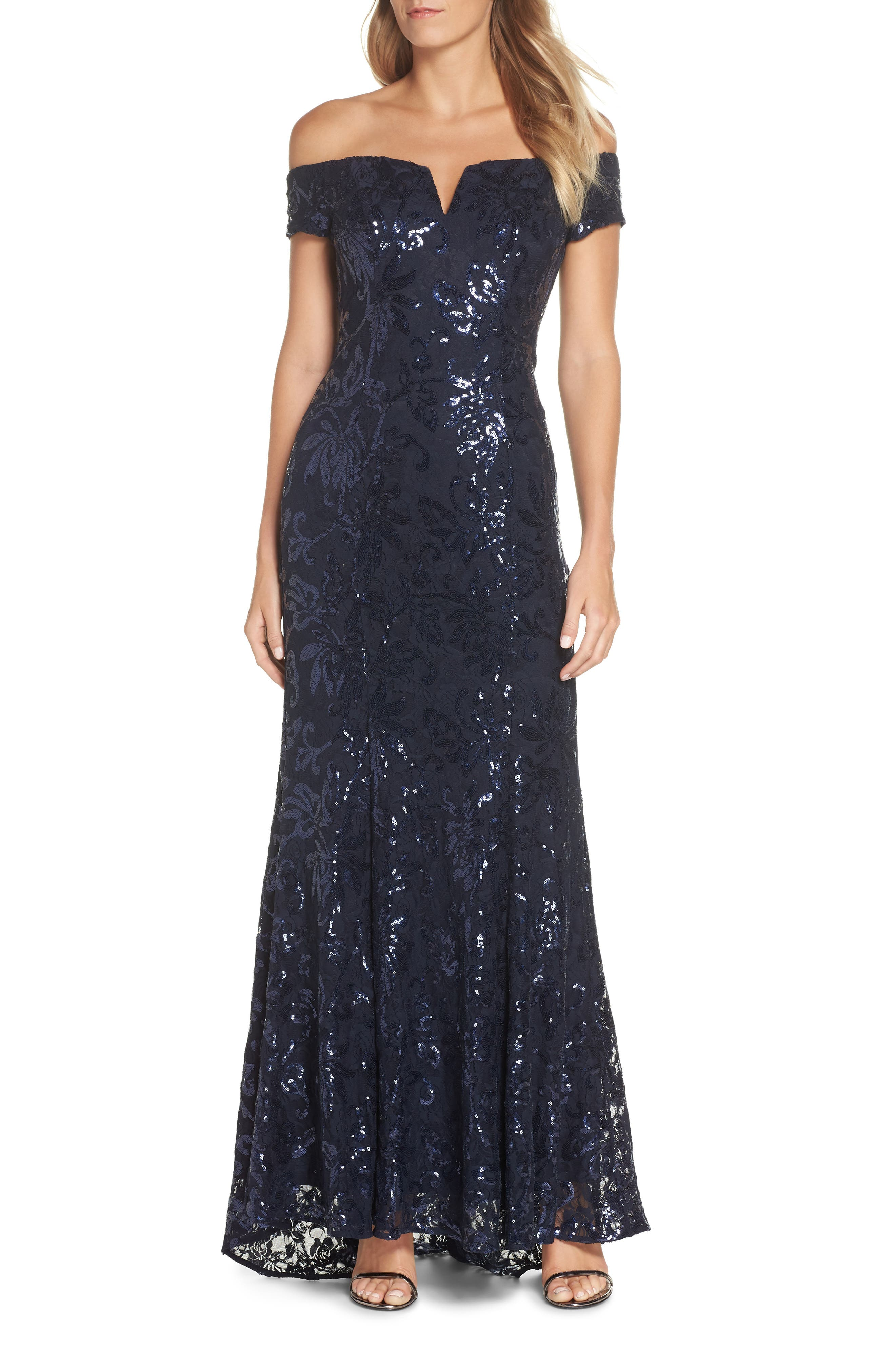 Vince Camuto Off The Shoulder Sequin Embellished Gown