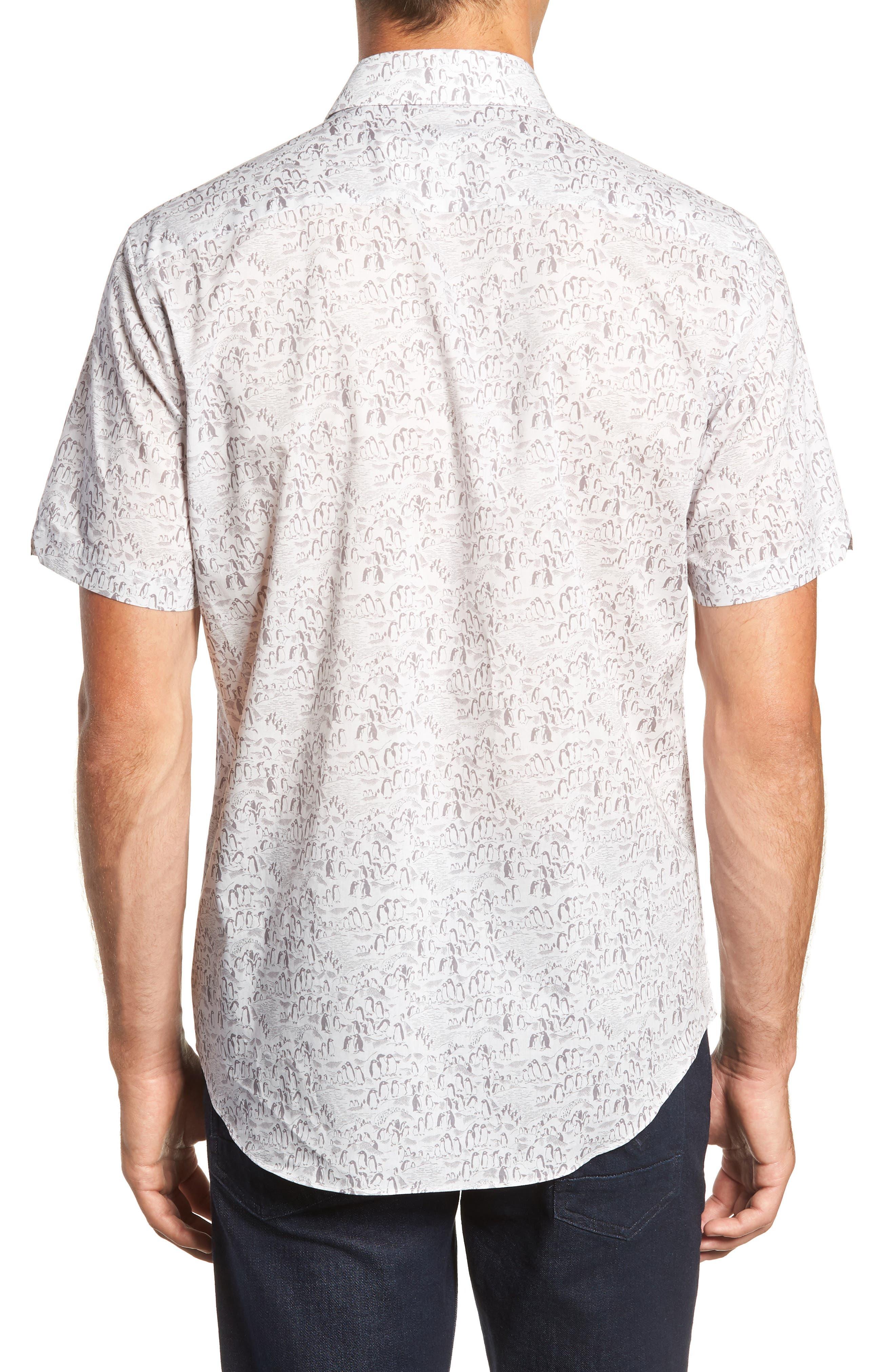 Burgess Regular Fit Sport Shirt,                             Alternate thumbnail 3, color,                             PEWTER