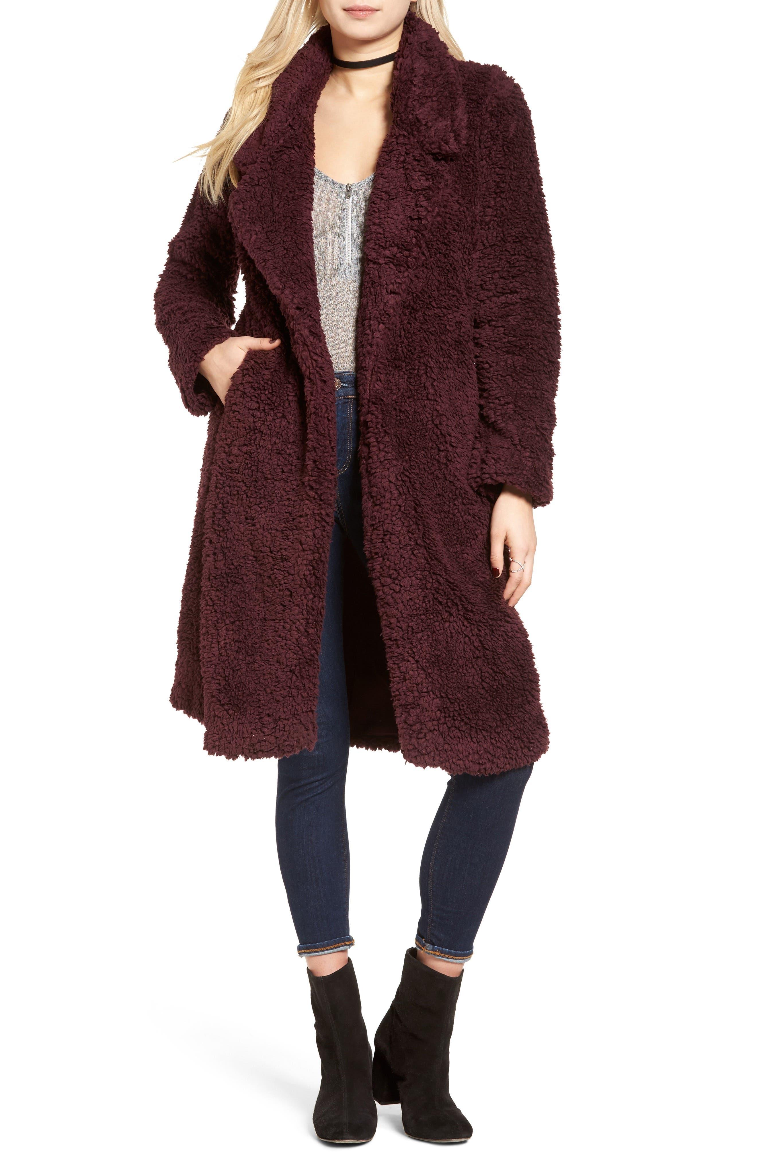 Violet Teddy Bear Coat,                             Main thumbnail 3, color,