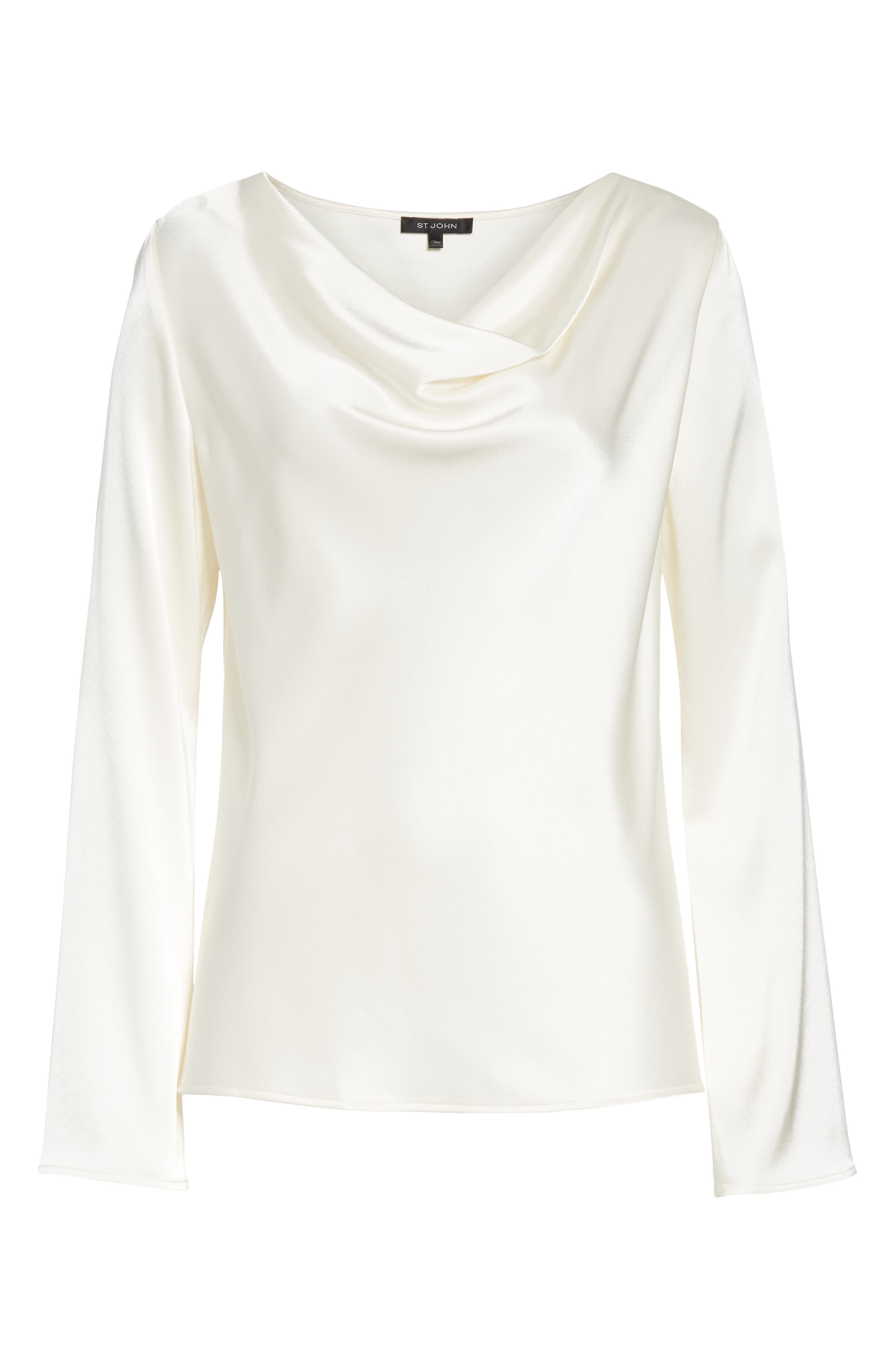 ST. JOHN COLLECTION,                             Satin Cowl Neck Blouse,                             Alternate thumbnail 7, color,                             CREAM