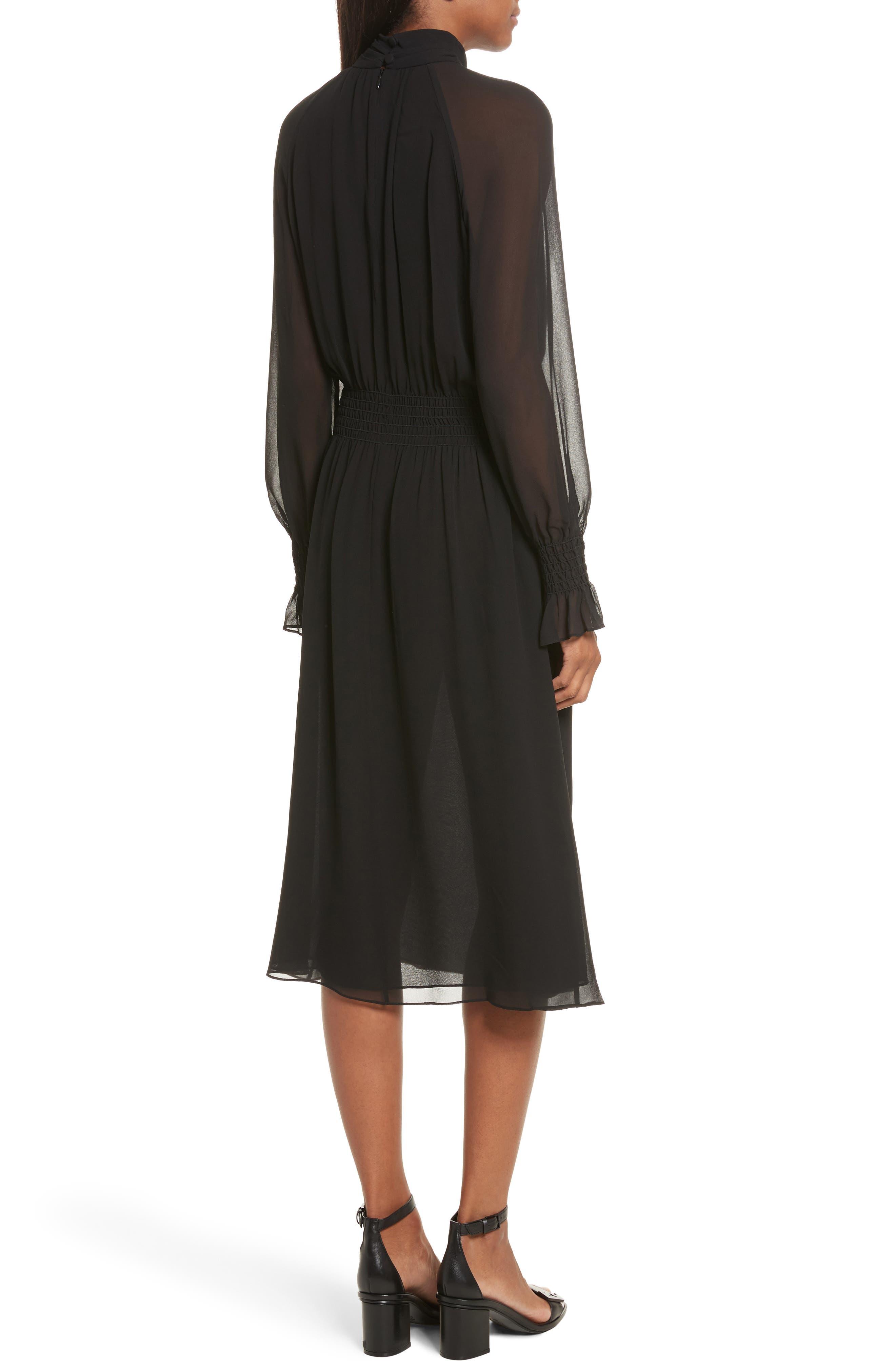 Collette Silk Midi Dress,                             Alternate thumbnail 2, color,                             001