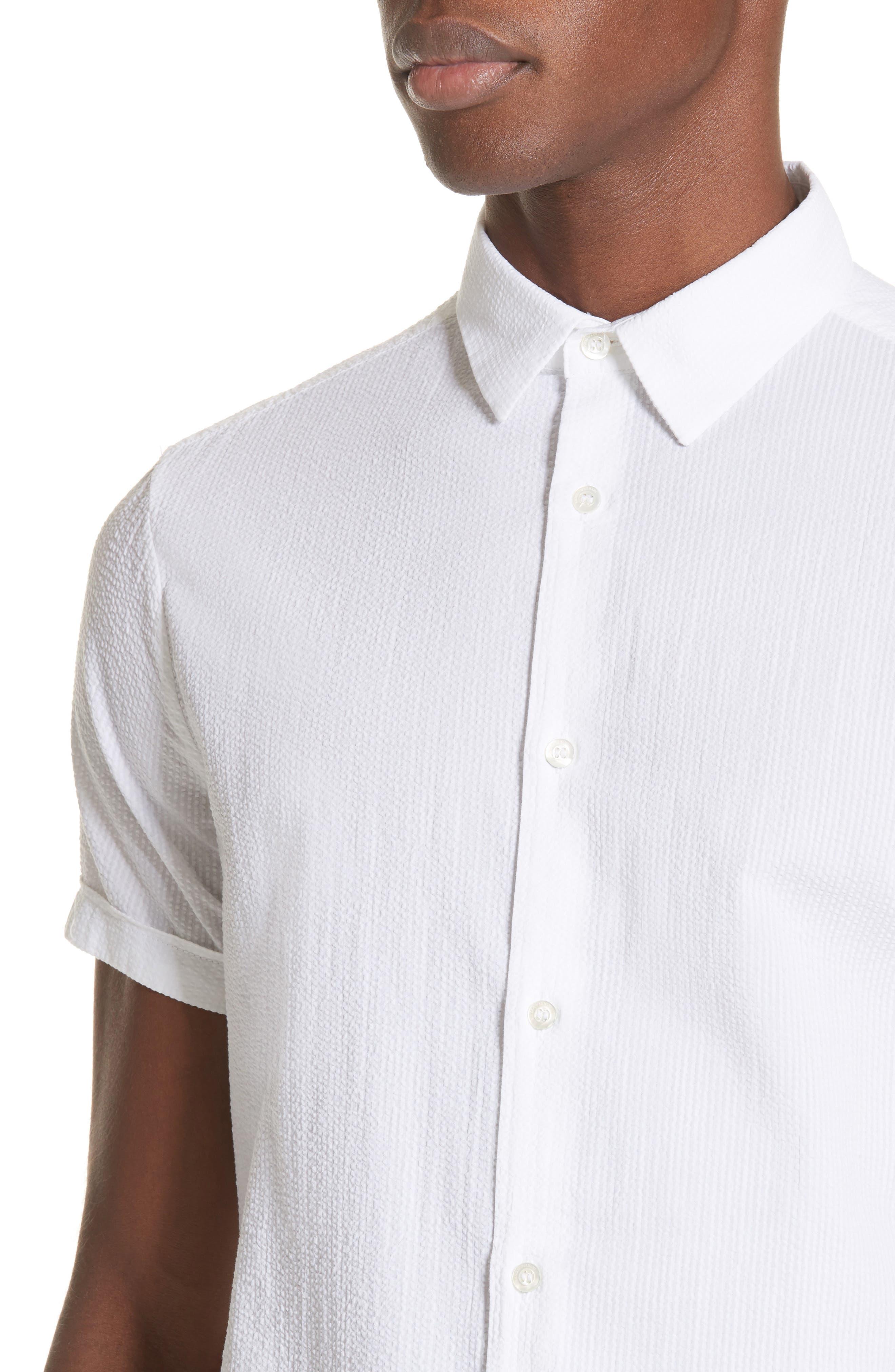 Regular Fit Short Sleeve Sport Shirt,                             Alternate thumbnail 4, color,                             BIANCO OTTICO