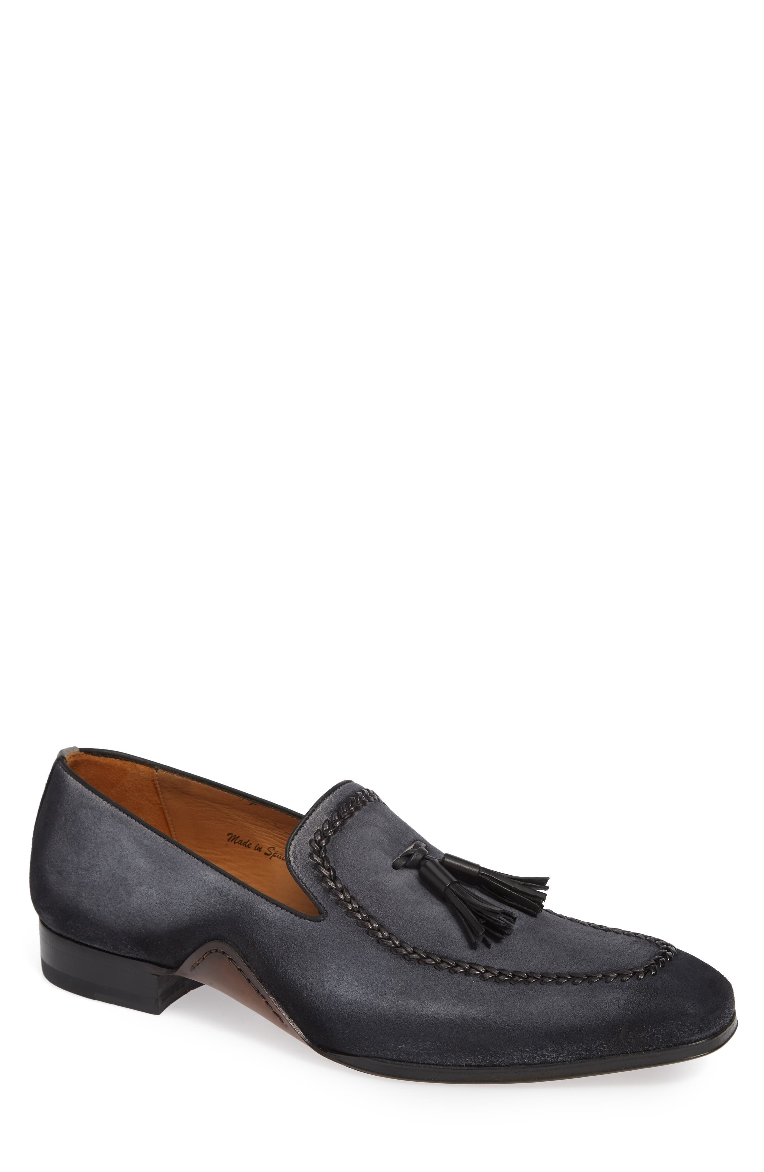 Plazza Tasseled Venetian Loafer,                             Main thumbnail 1, color,                             GREY SUEDE