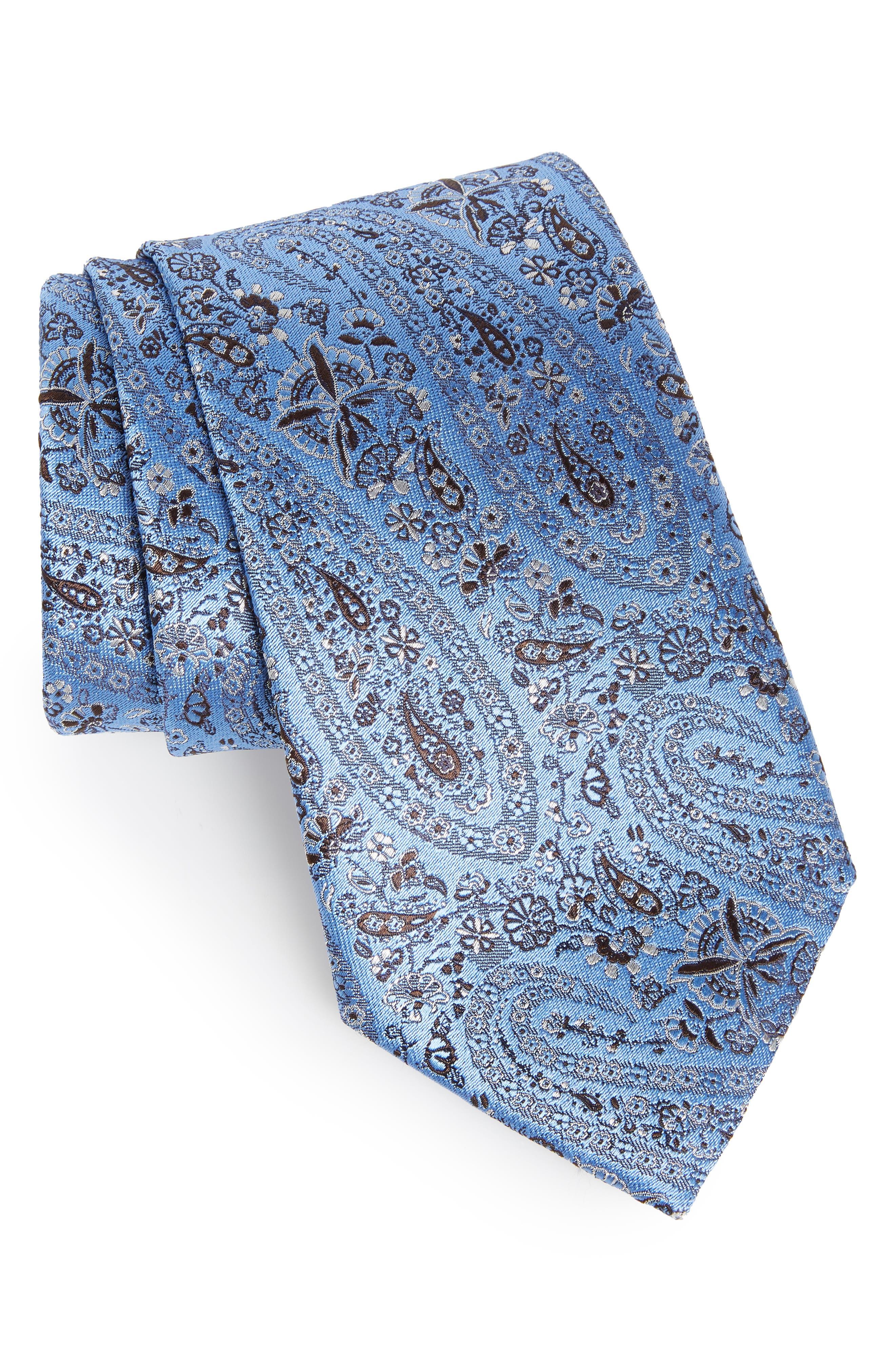 ERMENEGILDO ZEGNA Floral Silk Tie, Main, color, 438