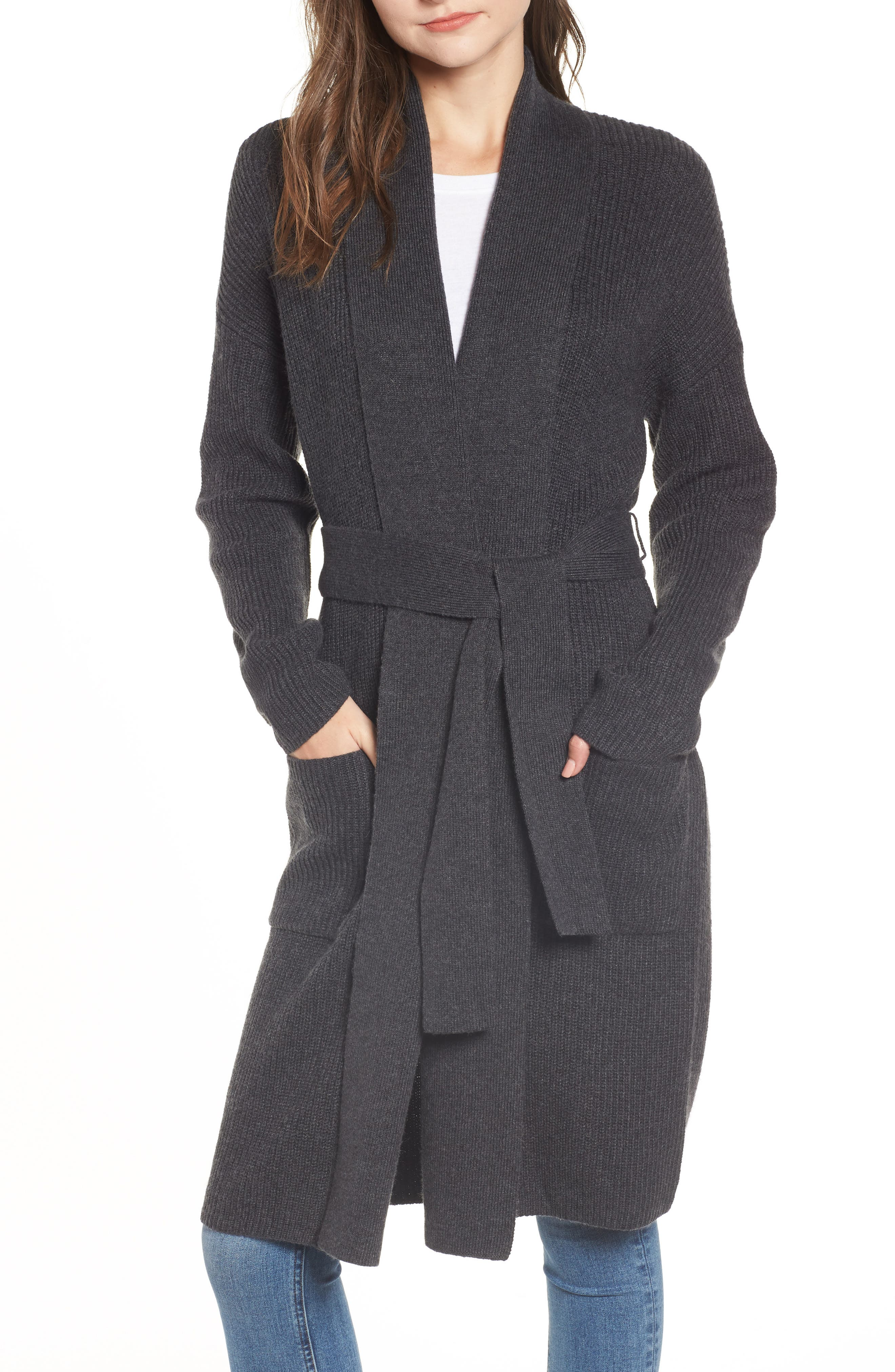 Chelsea28 Belted Cardigan, Grey