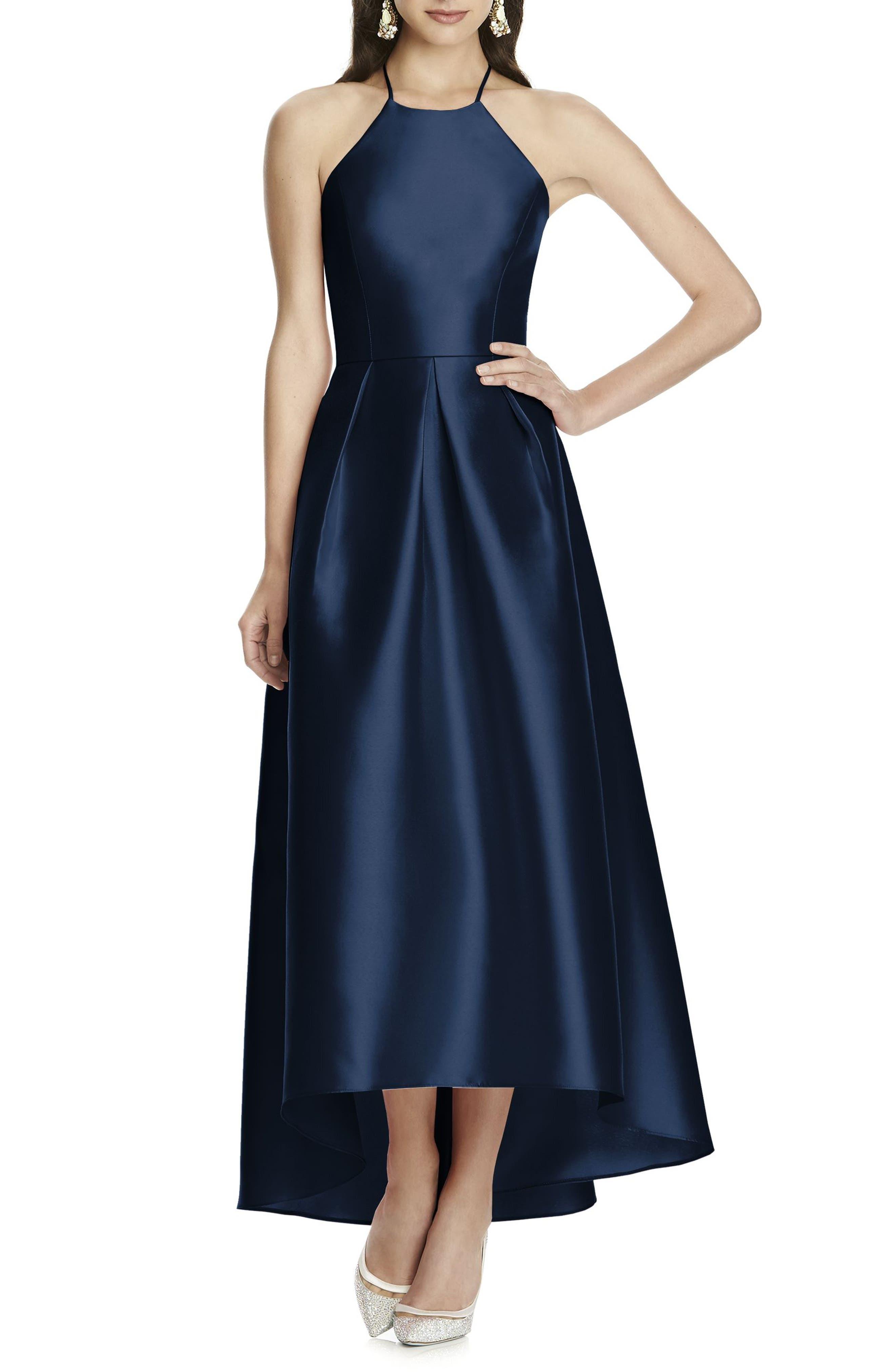 High/Low Hem Sateen Halter Dress,                             Main thumbnail 1, color,                             405