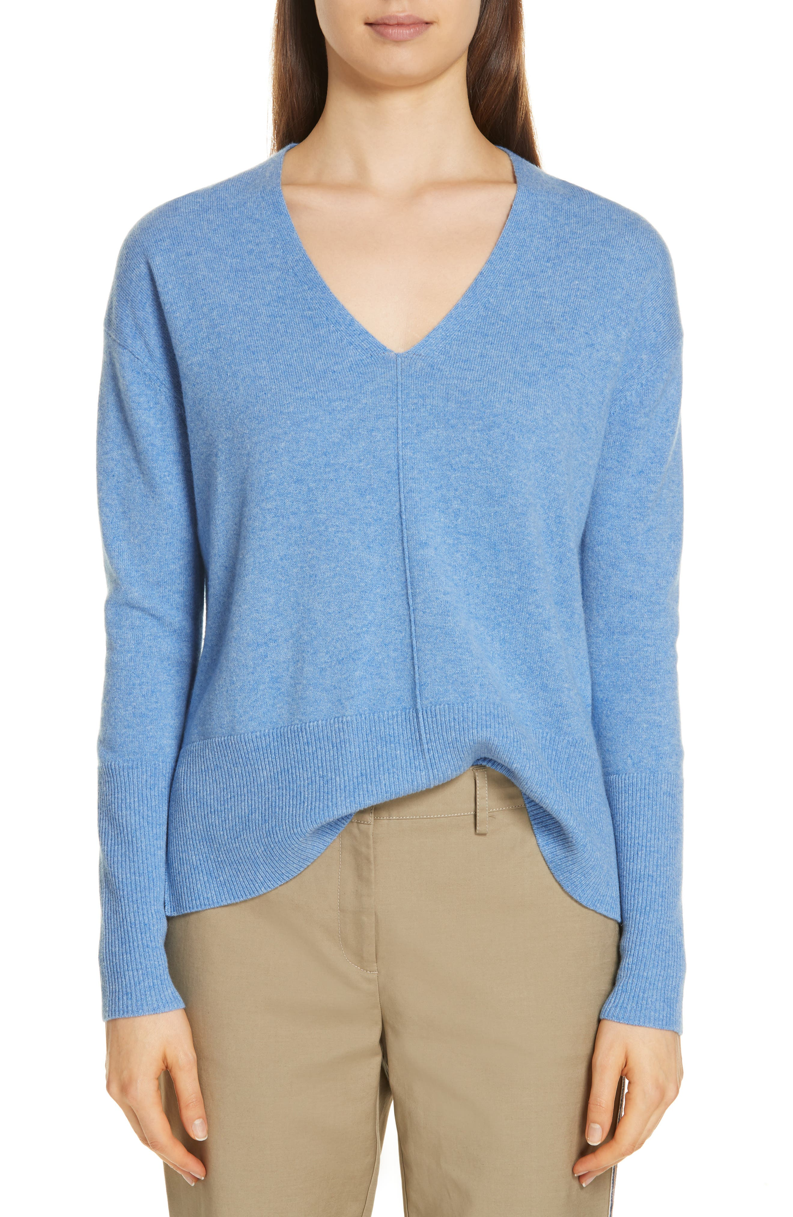 V-Neck High/Low Cashmere Sweater,                             Main thumbnail 1, color,                             BLUE PROVENCE HEATHER