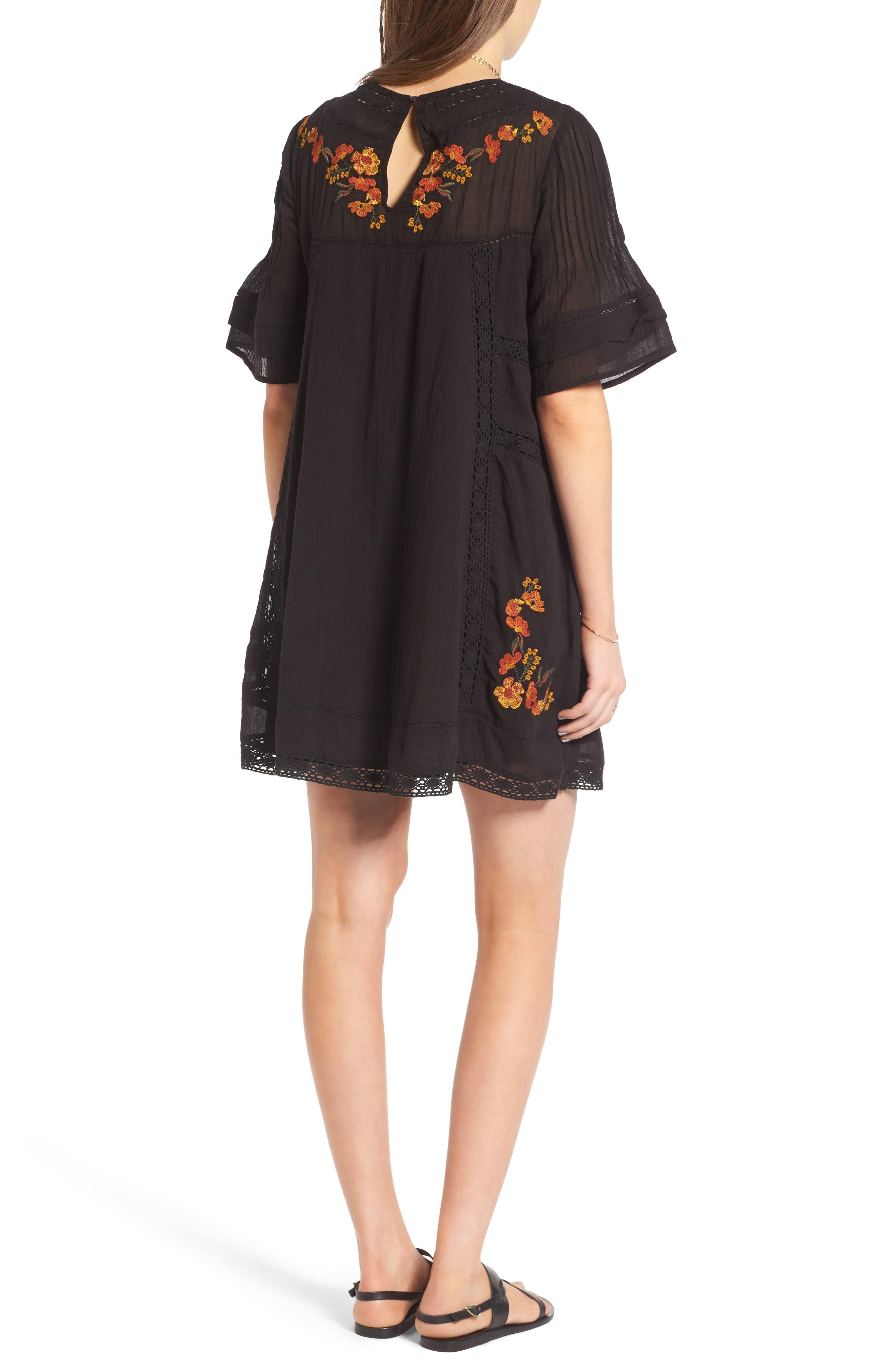 'Perfectly Victorian' Minidress,                             Alternate thumbnail 2, color,                             BLACK COMBO