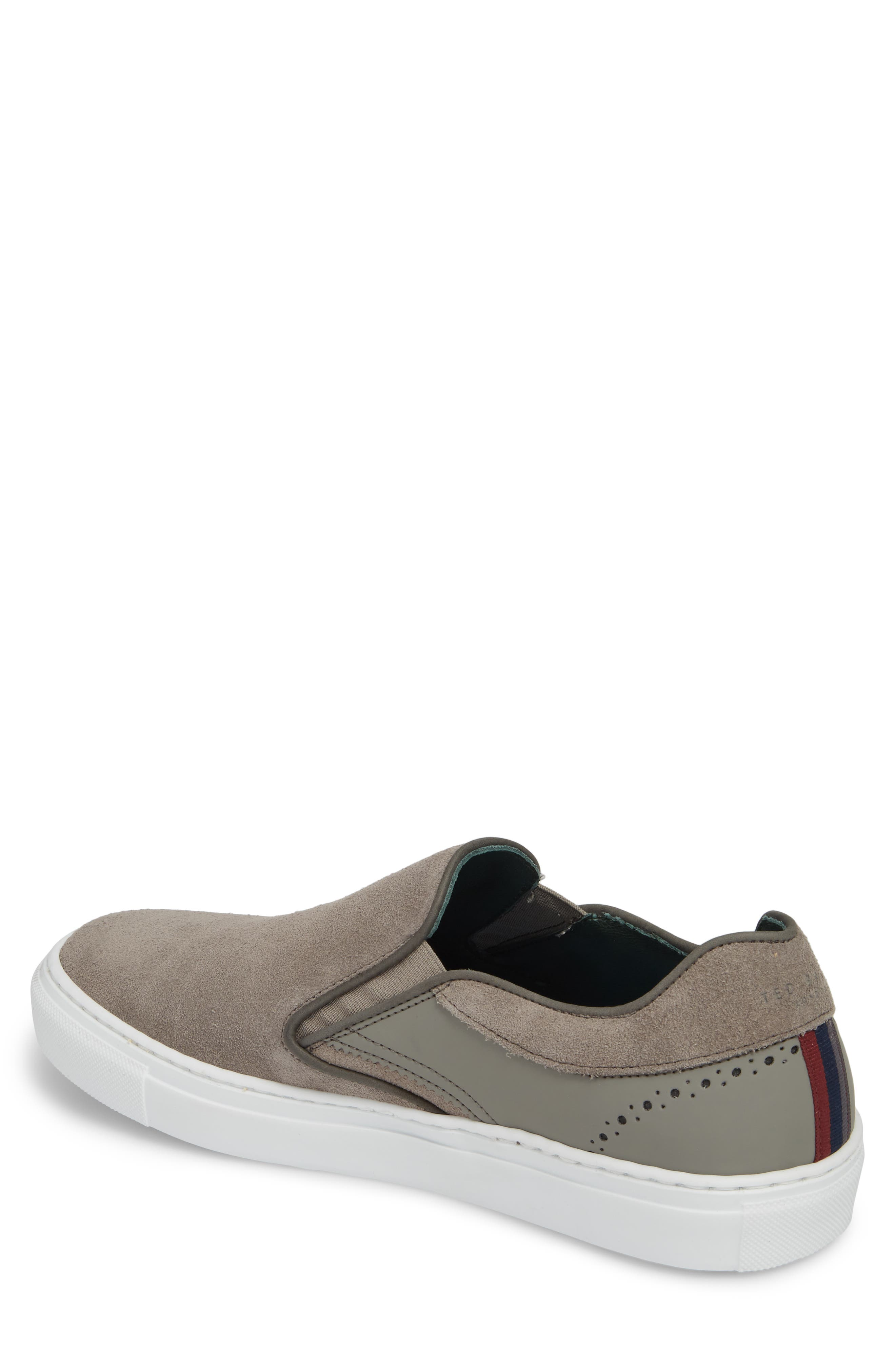 Reaine Brogued Slip-On Sneaker,                             Alternate thumbnail 2, color,                             LIGHT GREY LEATHER