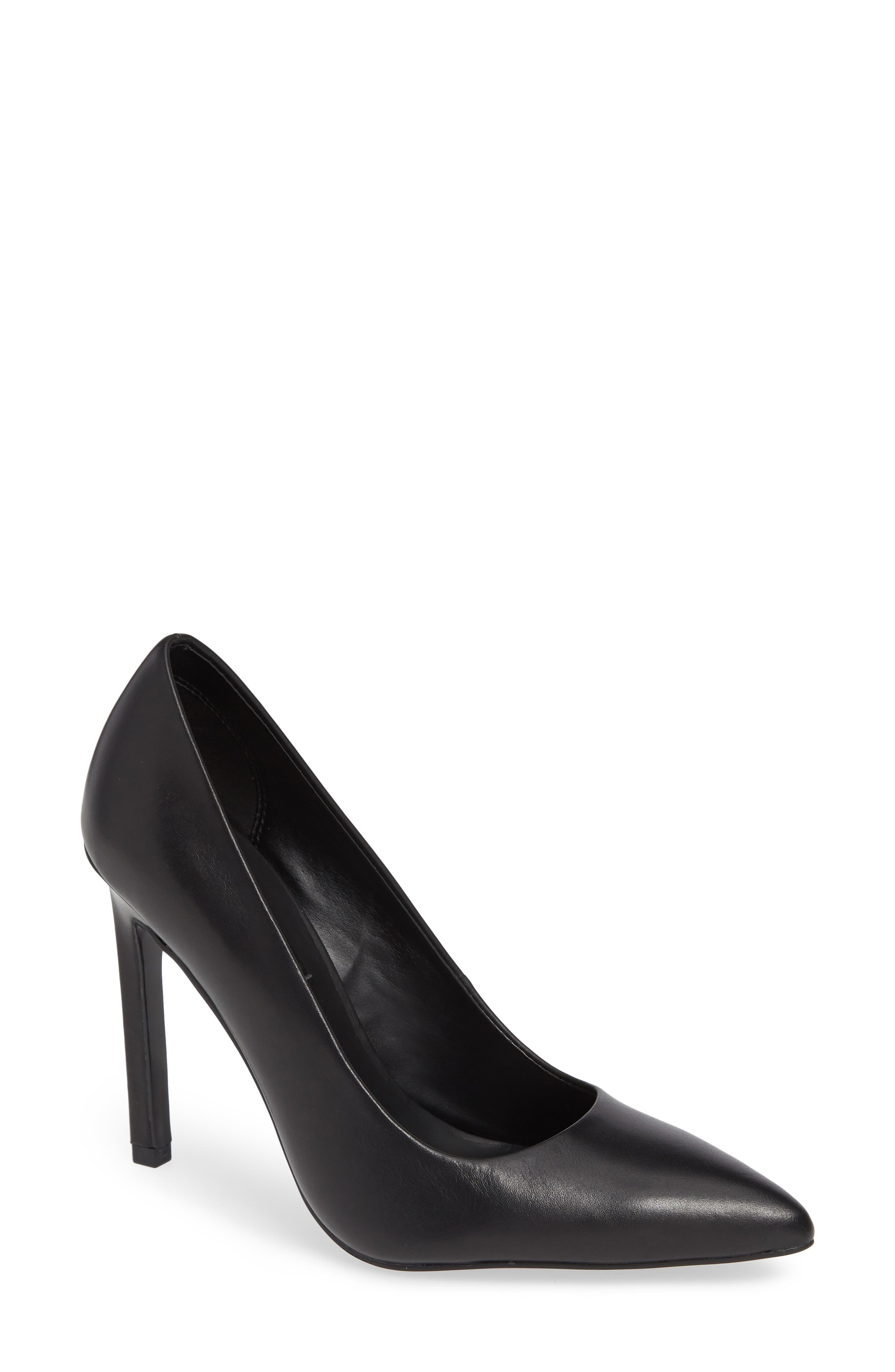 Paige Pointed Toe Pump,                             Main thumbnail 1, color,                             BLACK LEATHER