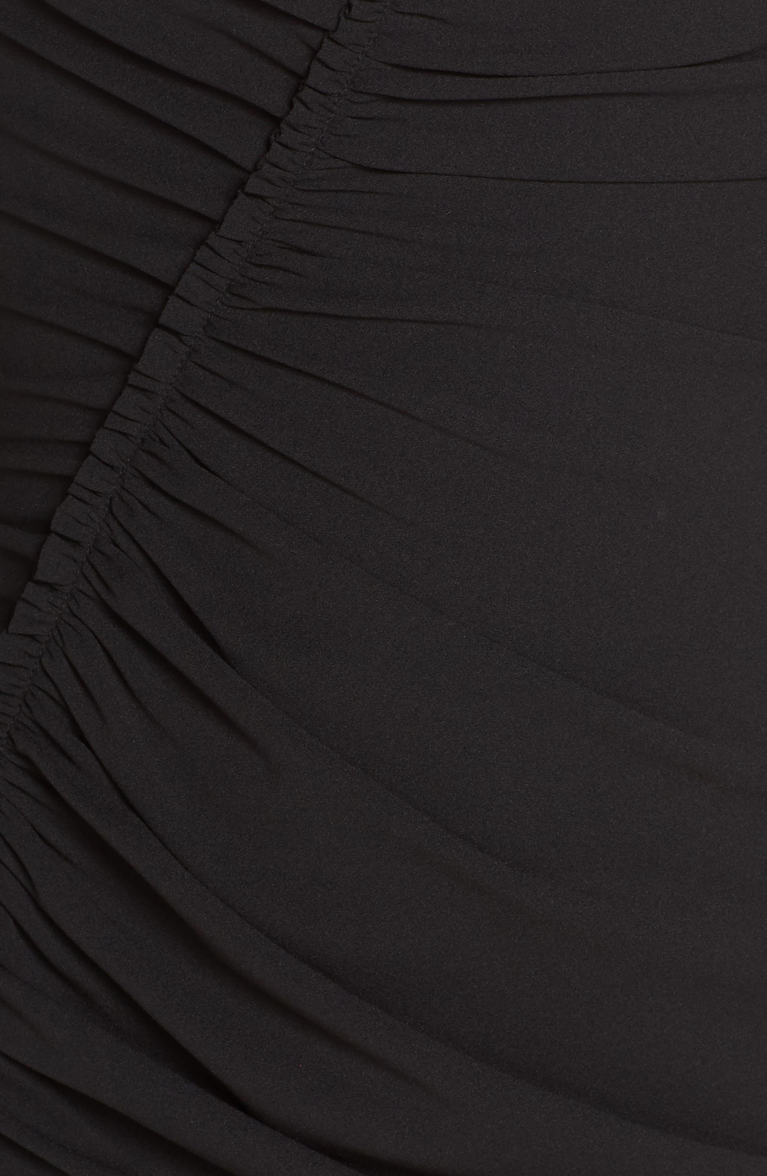 Off the Shoulder Ruched Cocktail Sheath,                             Alternate thumbnail 6, color,                             BLACK