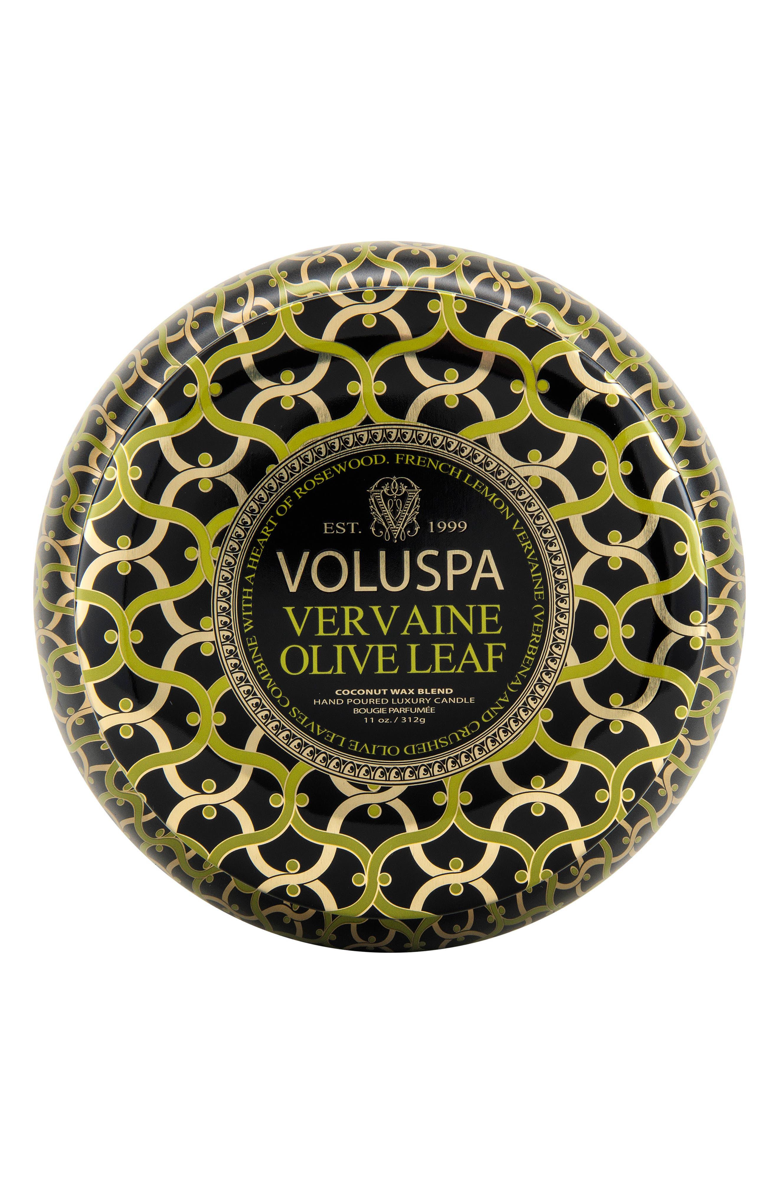 VOLUSPA,                             Maison Noir Vervaine Olive Leaf Maison Metallo Two-Wick Candle,                             Alternate thumbnail 2, color,                             NO COLOR