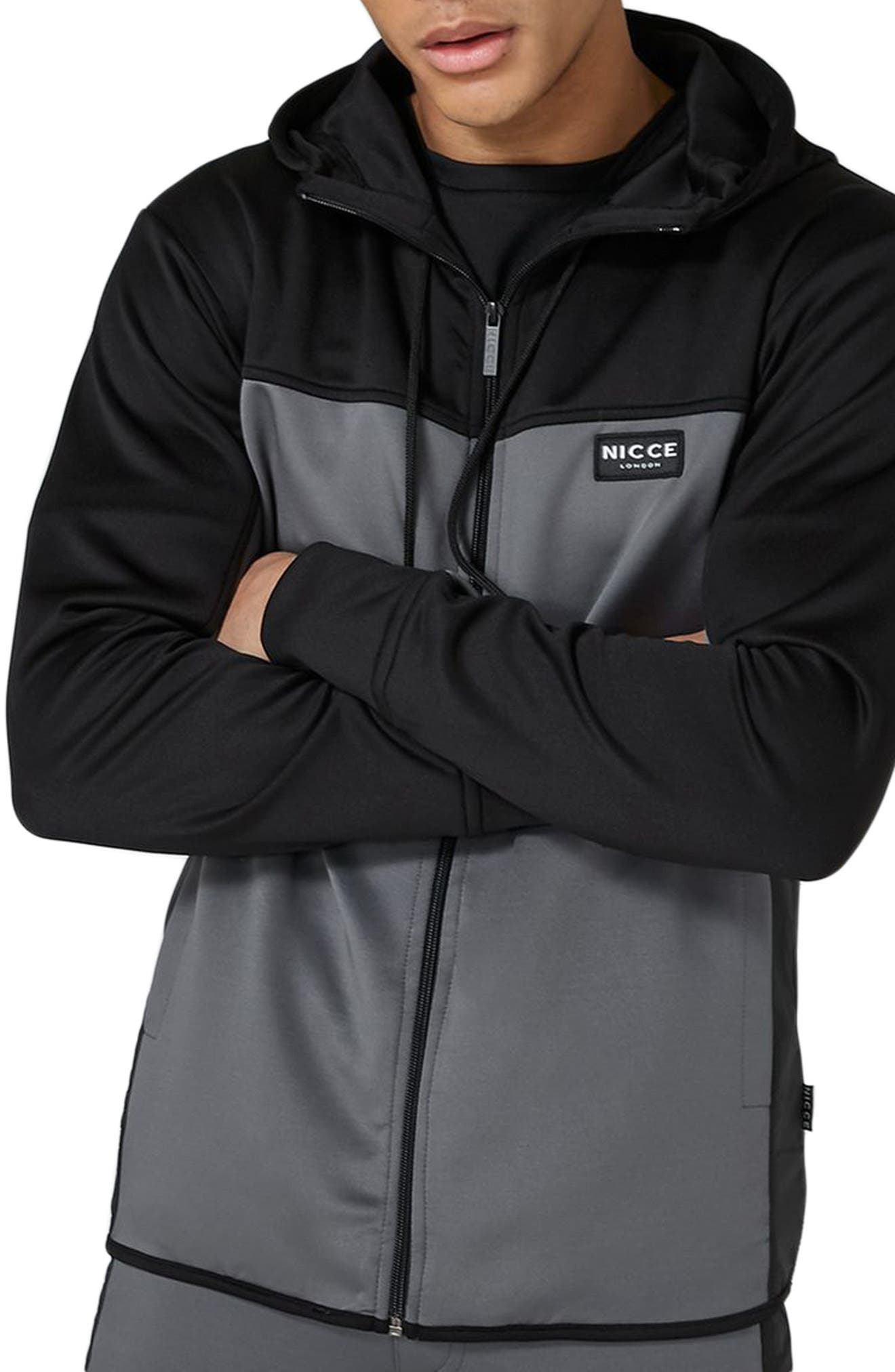 Topshop NICCE Hybrid Track Jacket,                             Main thumbnail 1, color,                             BLACK MULTI