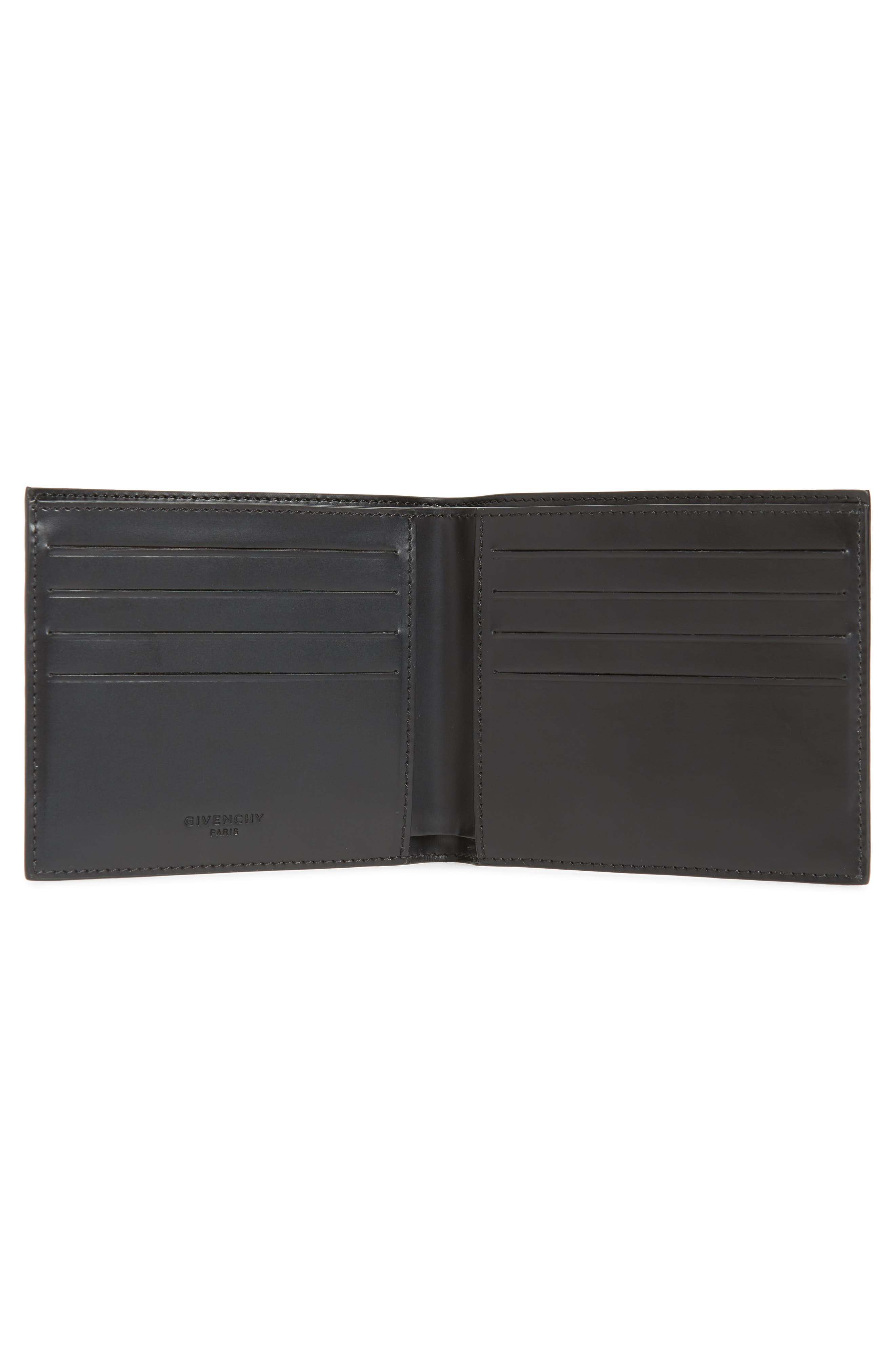Lion Print Faux Leather Bifold Wallet,                             Alternate thumbnail 2, color,                             BLACK MULTI