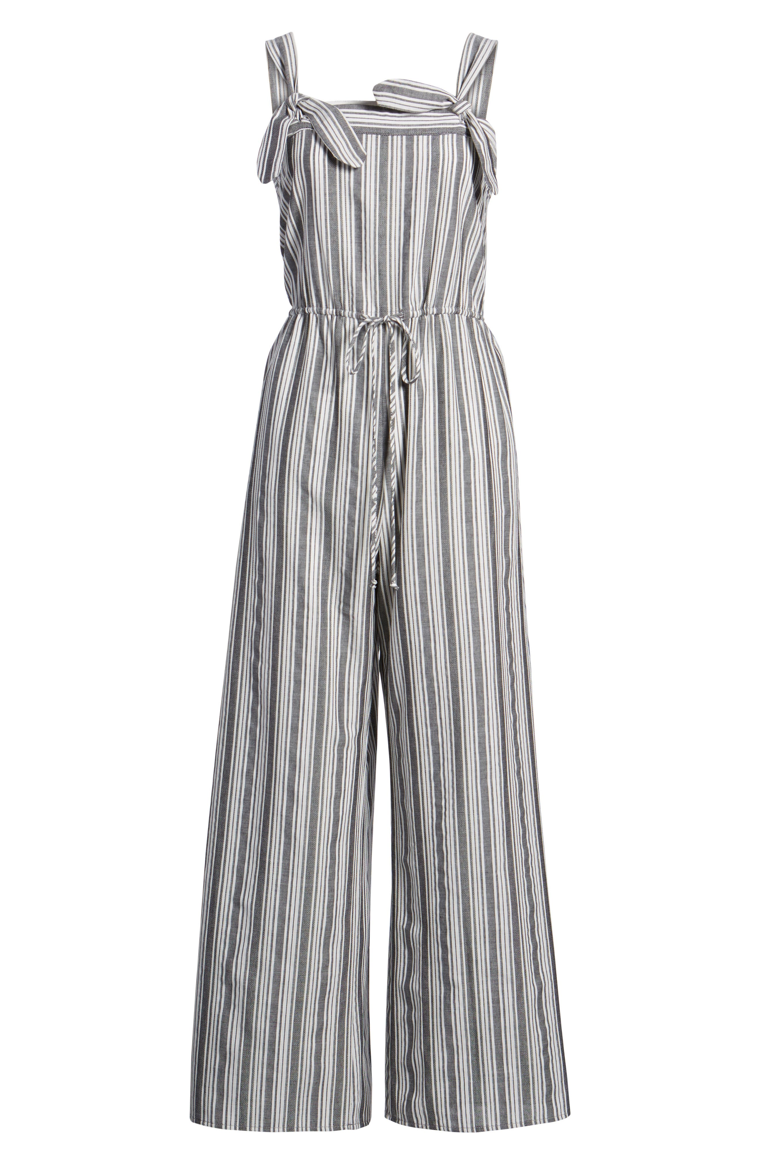 Stripe Knot Strap Jumpsuit,                             Alternate thumbnail 7, color,                             WHITE SUN STRIPE