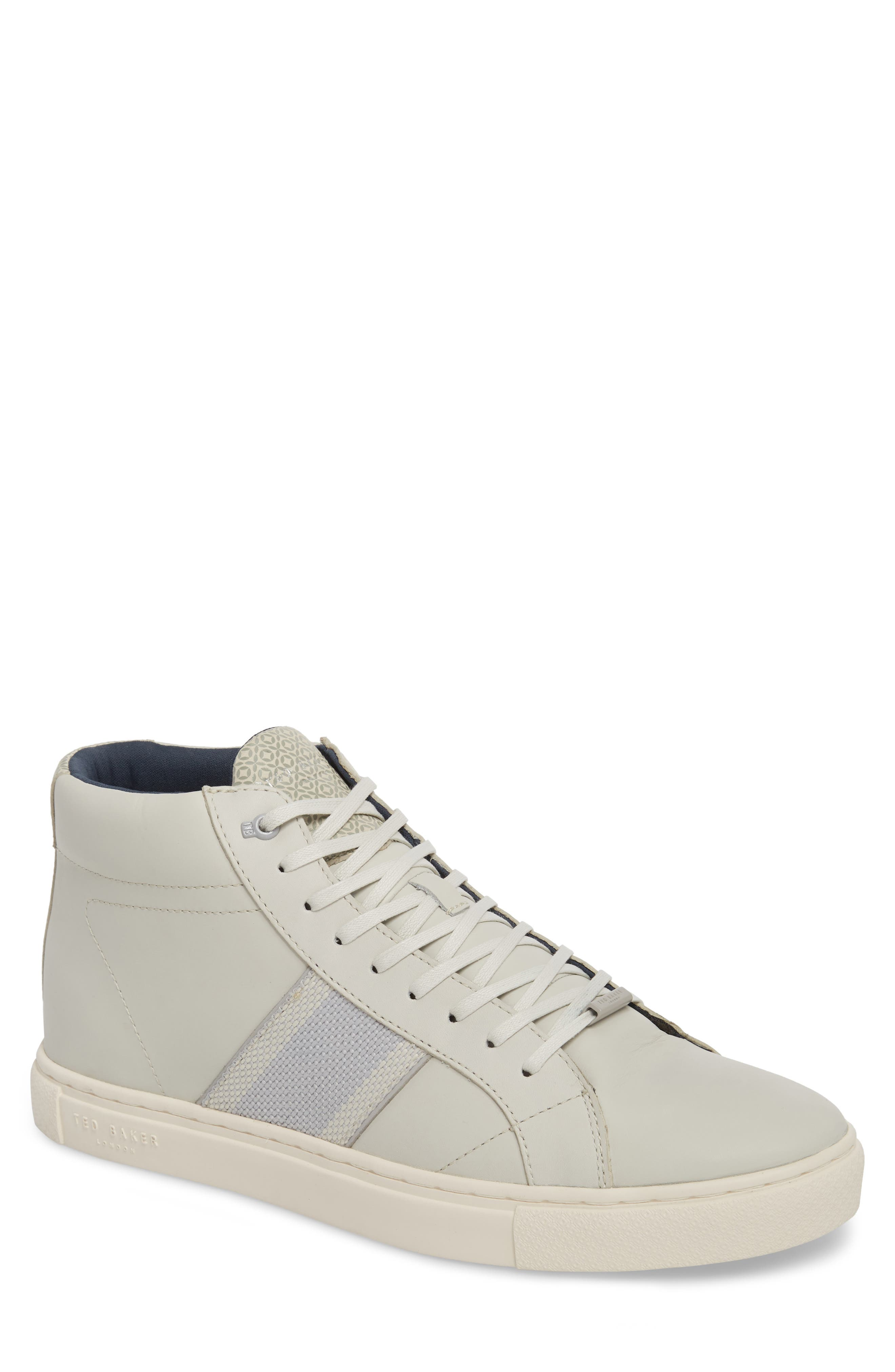 Cruuw High Top Sneaker,                         Main,                         color, WHITE LEATHER