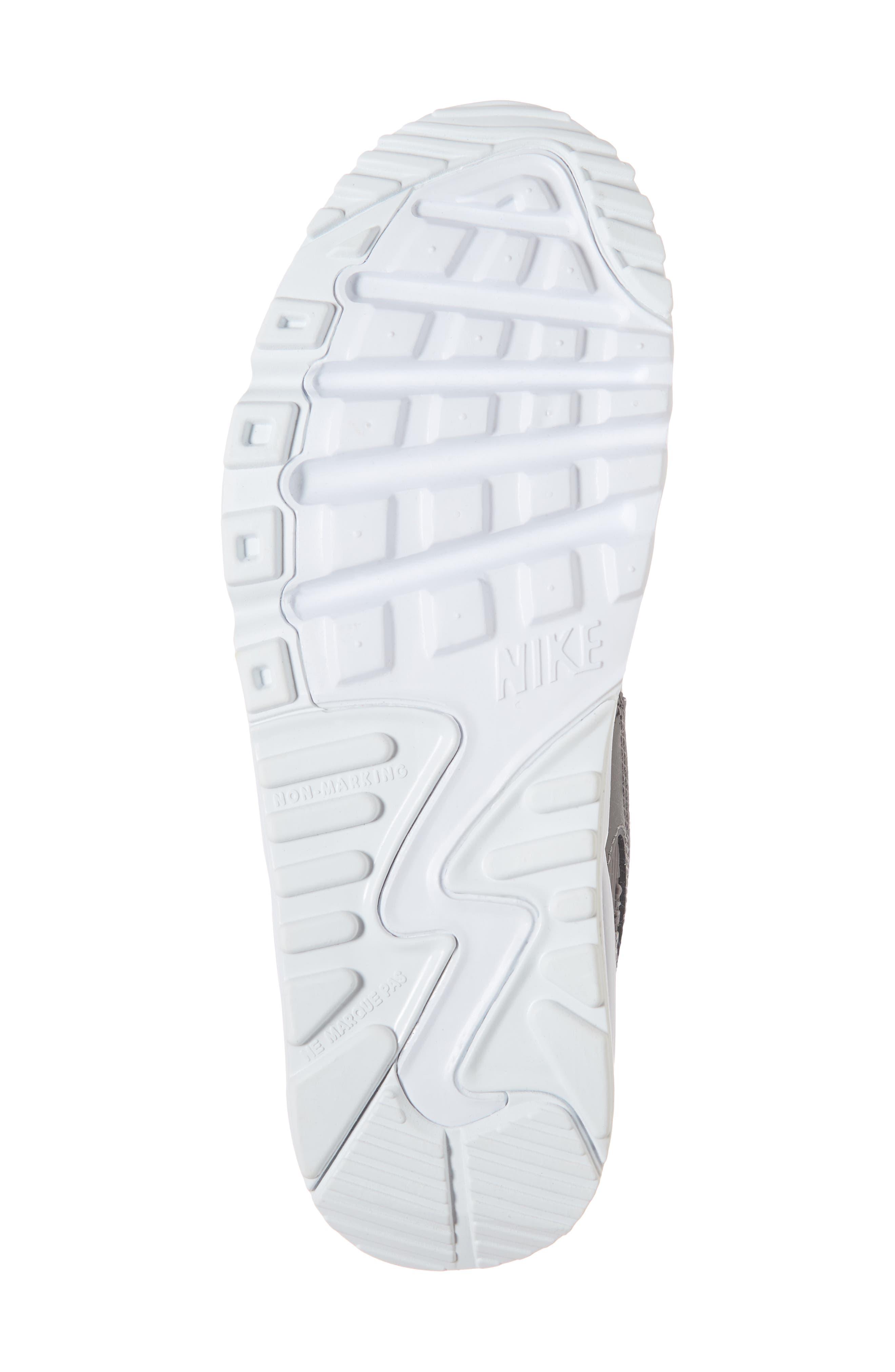 'Air Max 90' Sneaker,                             Alternate thumbnail 6, color,                             GUNSMOKE/ WHITE