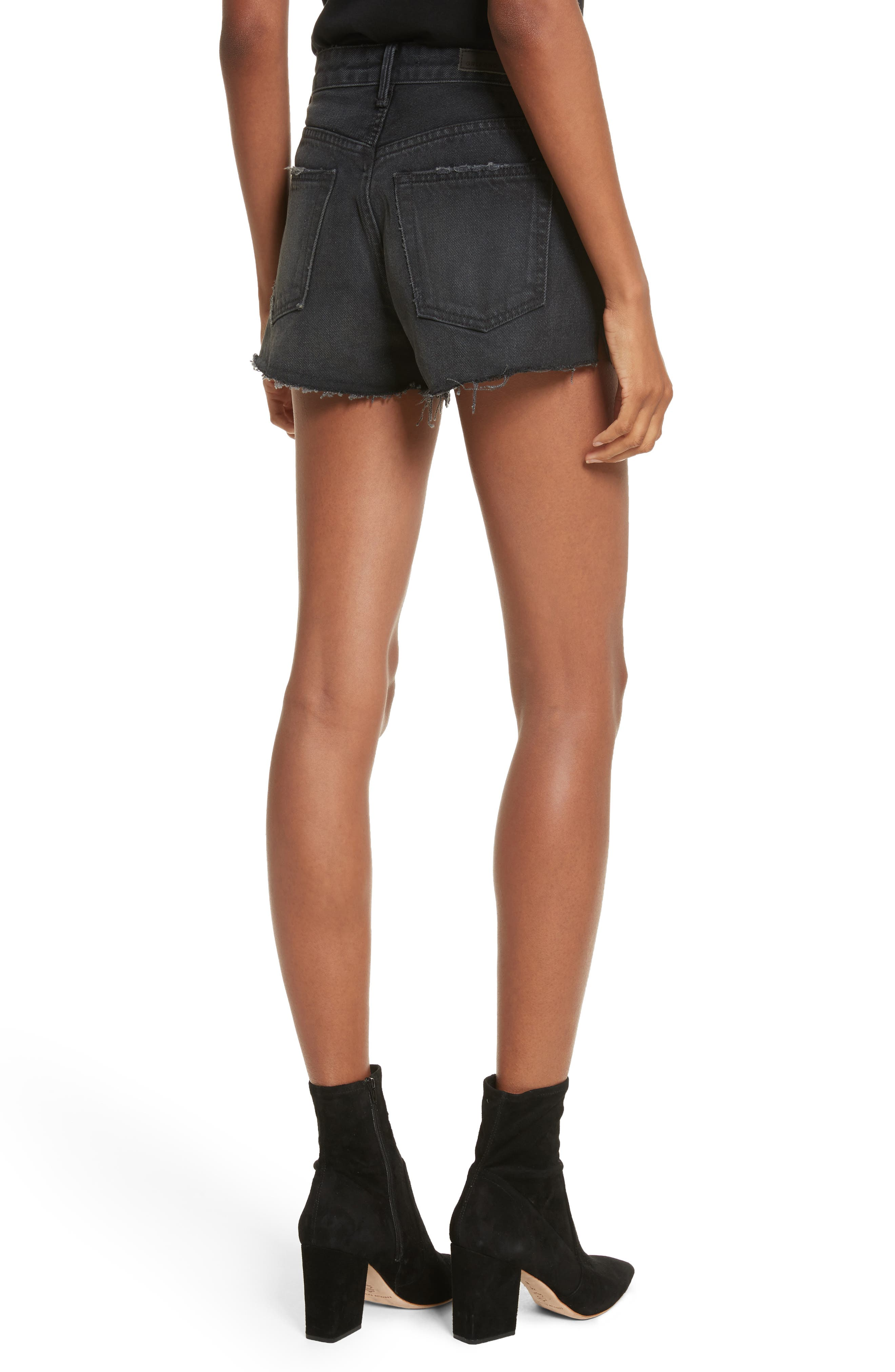 Cindy Rigid High Waist Denim Shorts,                             Alternate thumbnail 2, color,                             007