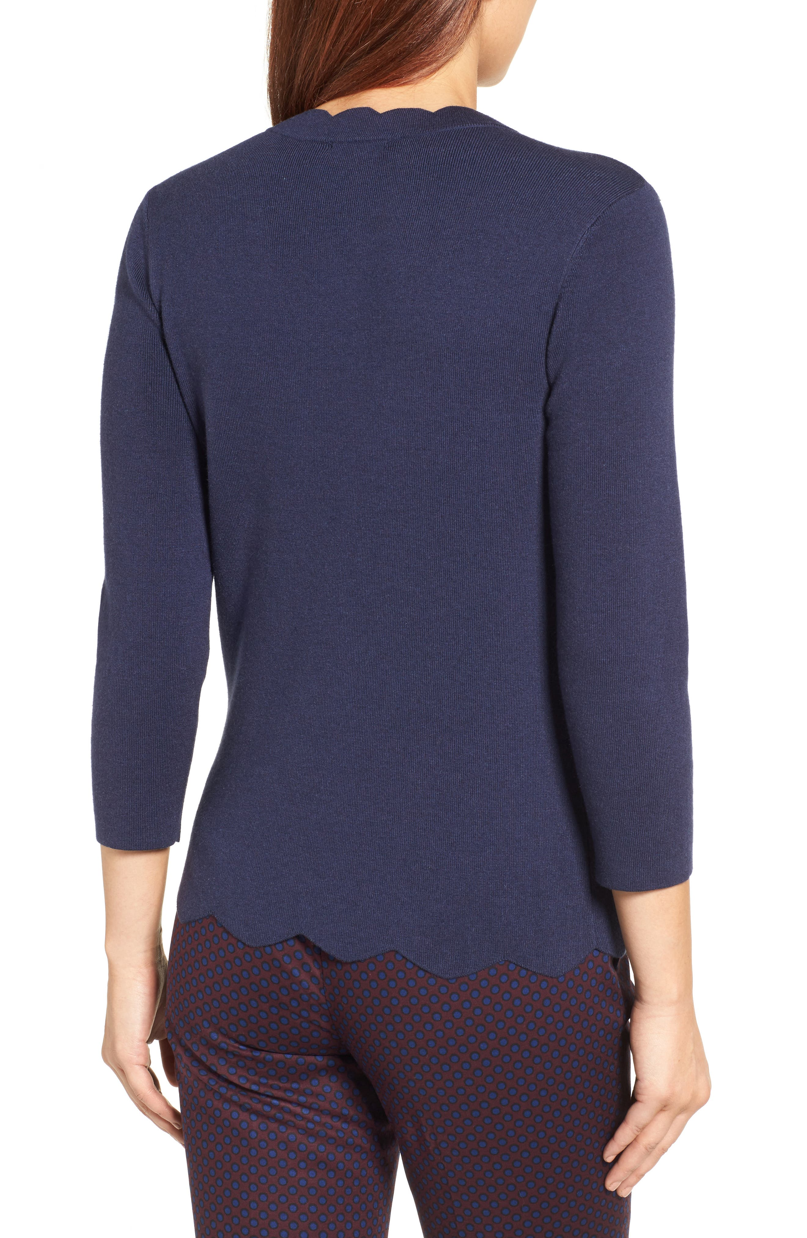 Halogen Scallop Edge Sweater,                             Alternate thumbnail 17, color,