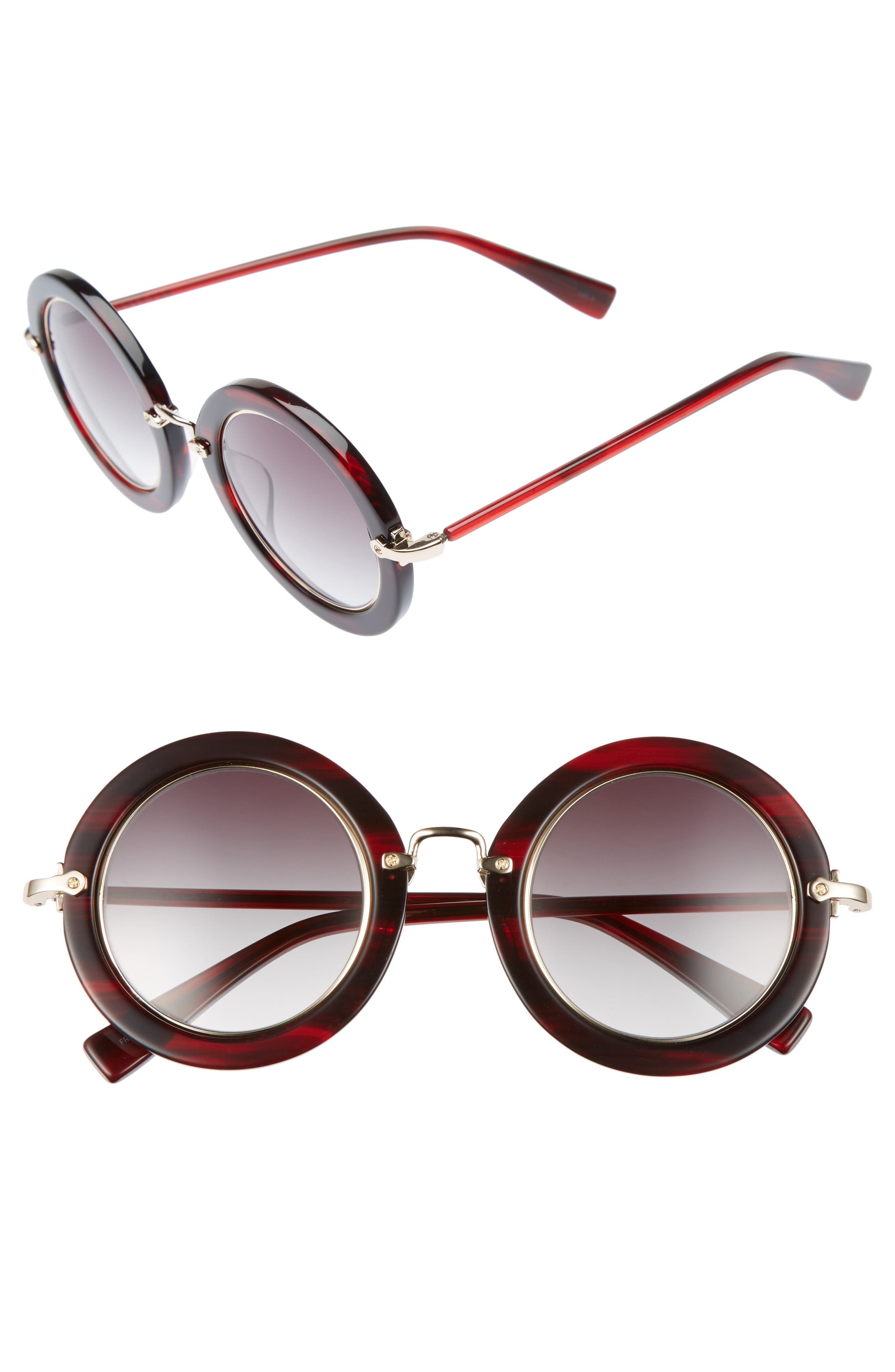 Madison 46mm Round Sunglasses,                         Main,                         color, RED FEATHER