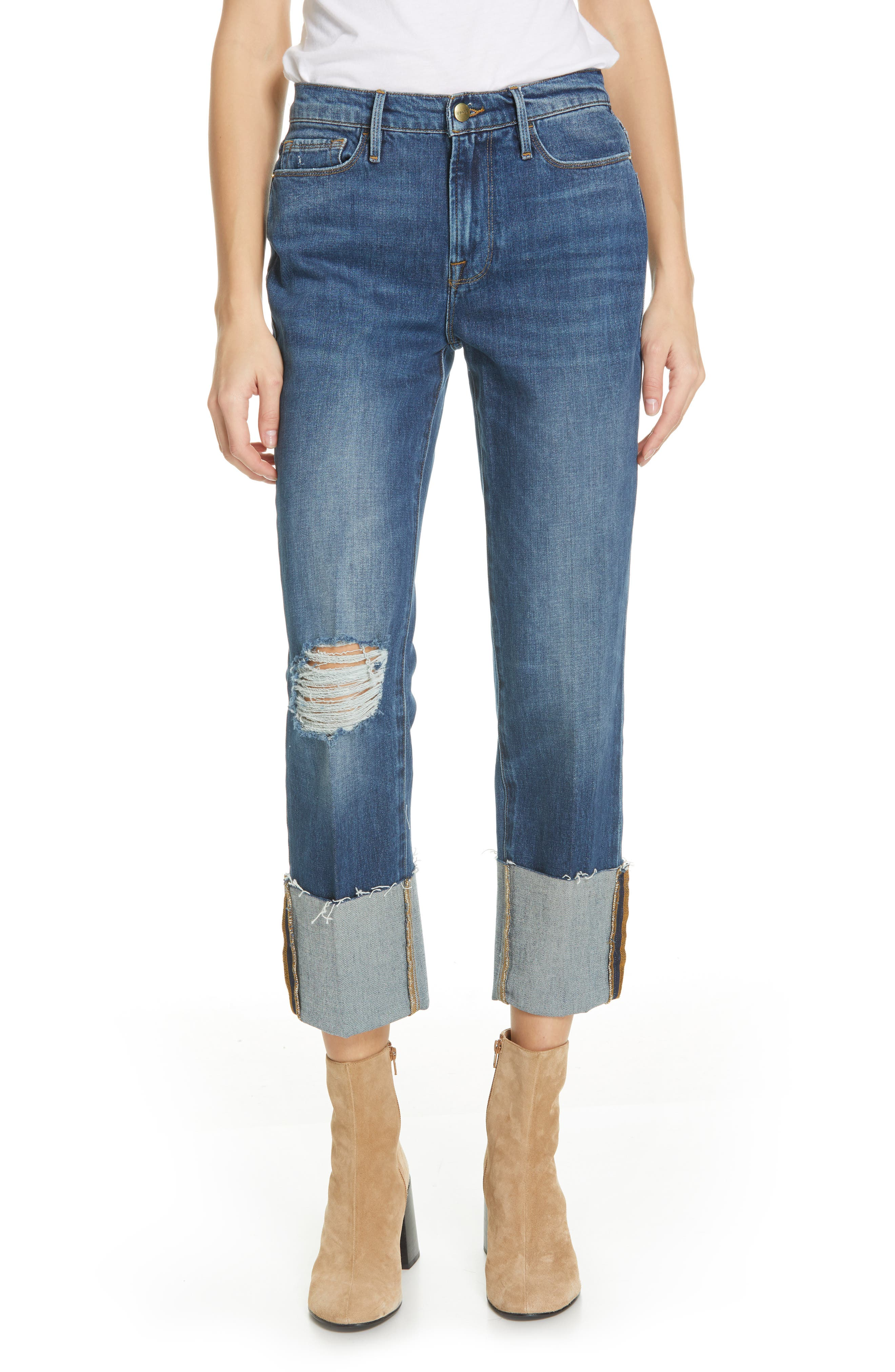 Le Nouveau Straight Leg Big Cuff Jeans,                             Main thumbnail 1, color,                             TEIGAN