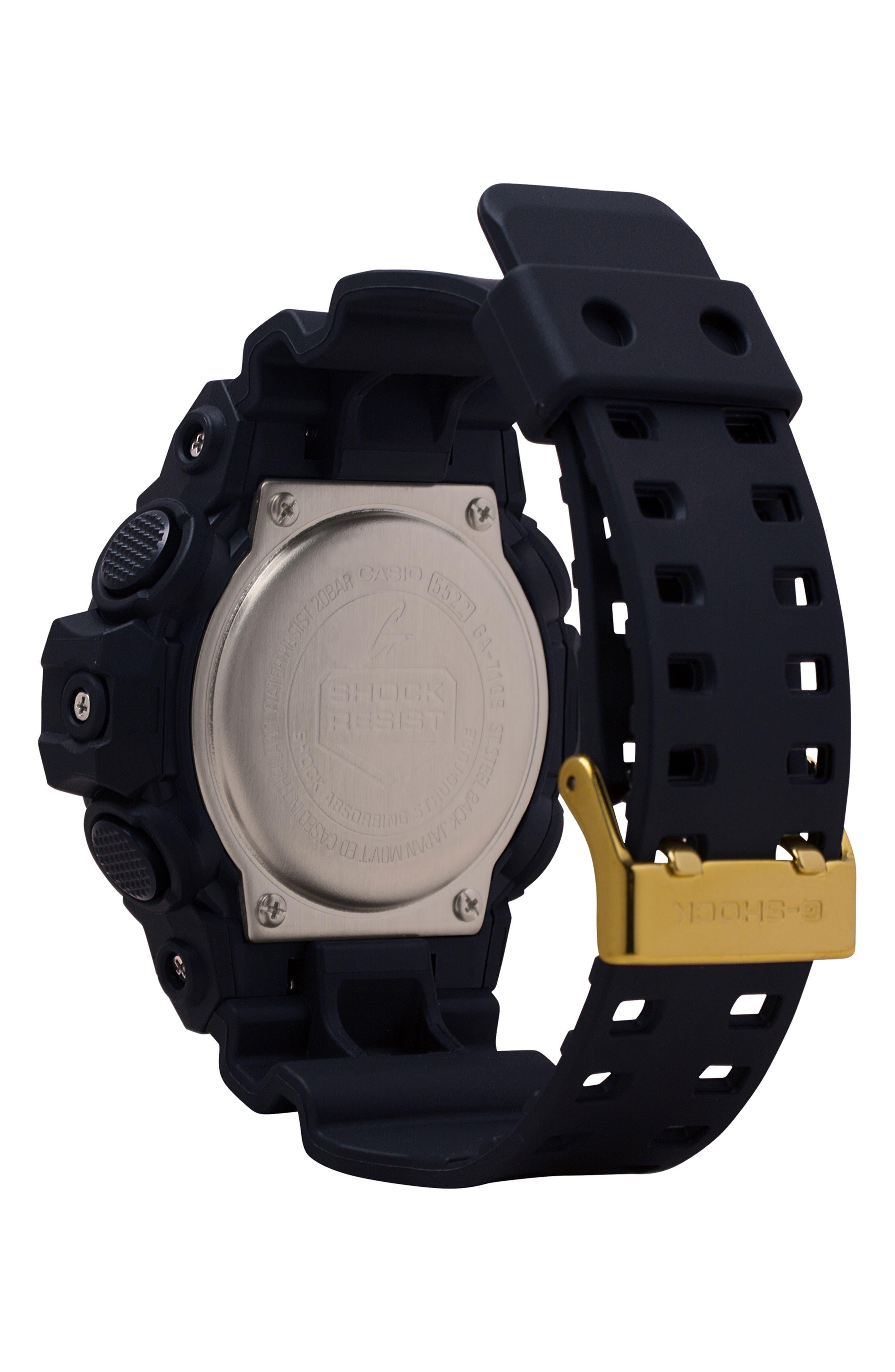 Ana-Digi Resin Watch, 53mm,                             Alternate thumbnail 2, color,                             BLACK/ GOLD