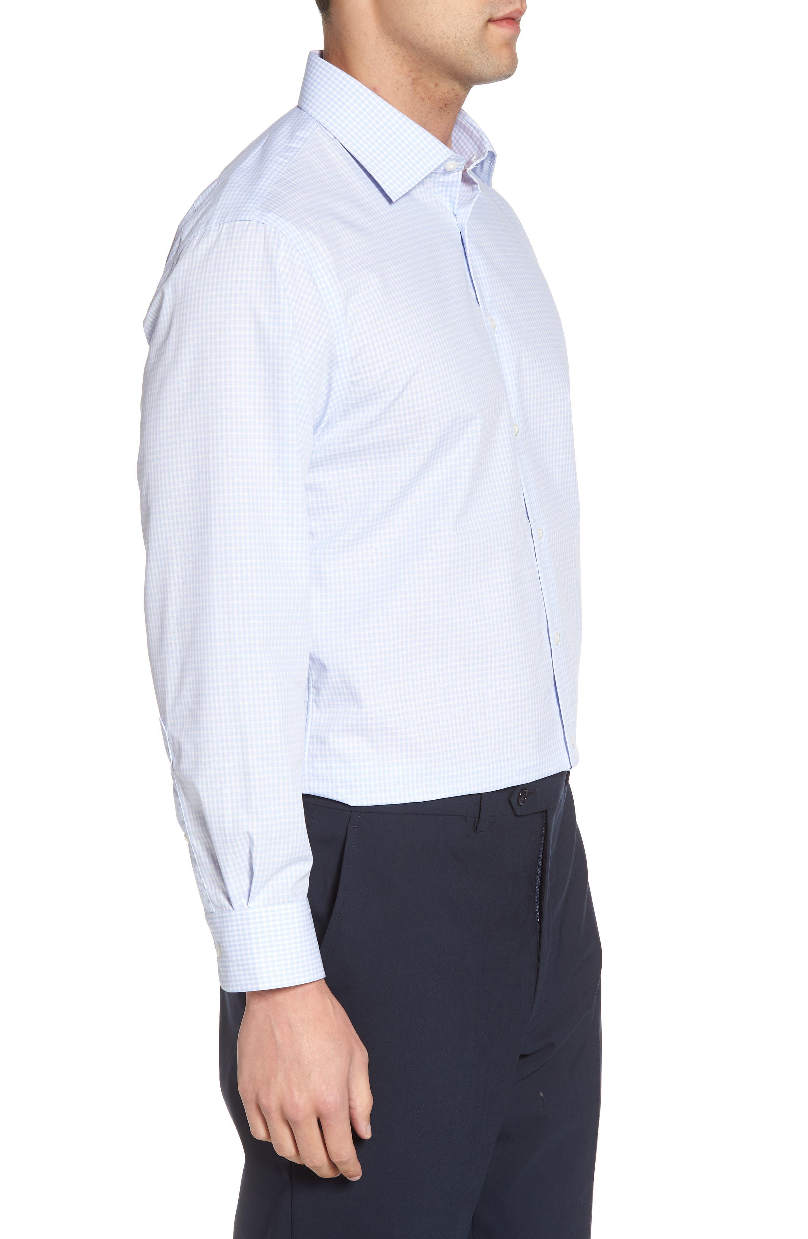 Traditional Fit Non-Iron Check Dress Shirt,                             Alternate thumbnail 4, color,                             BLUE XENON