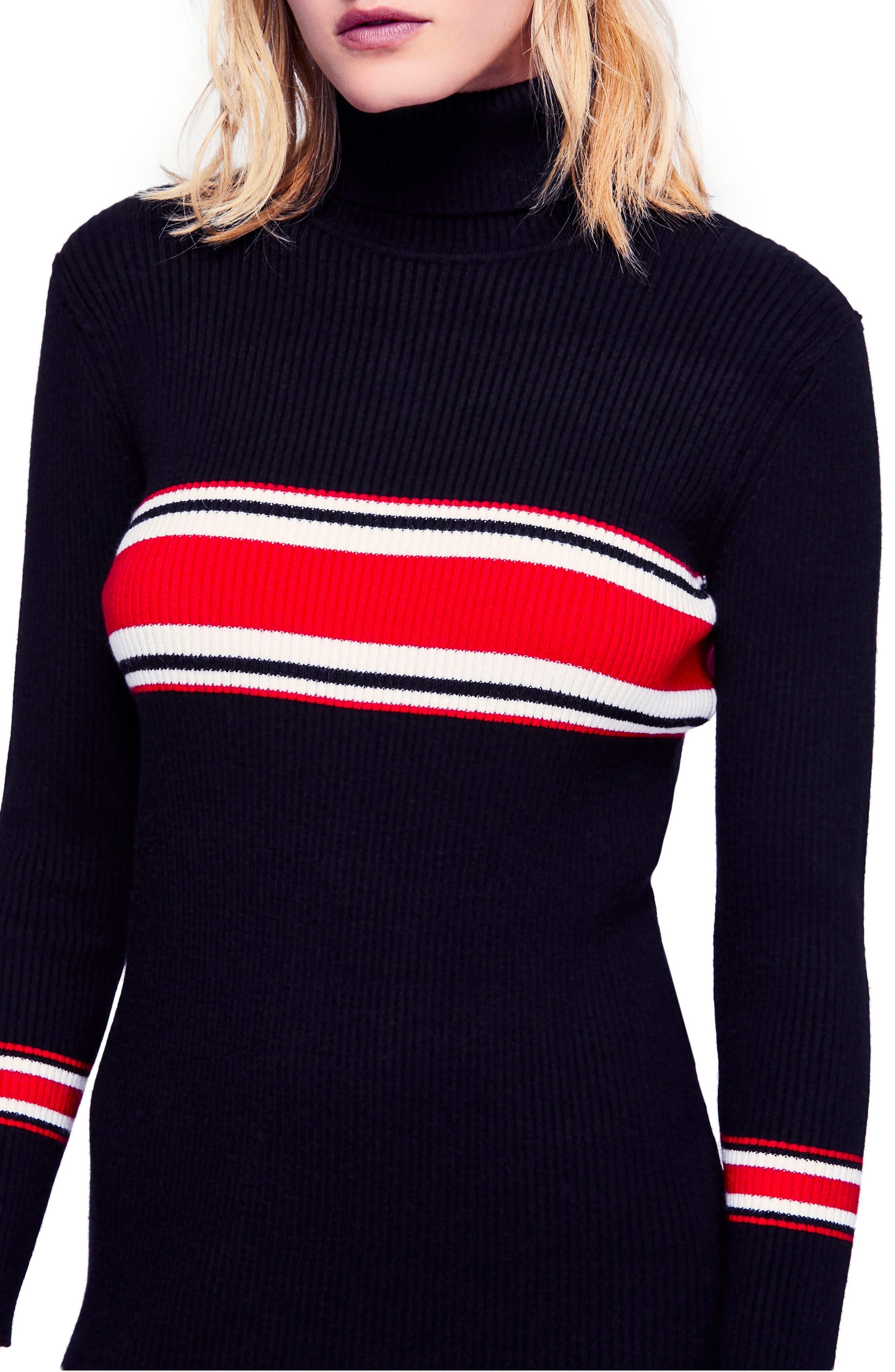 Sport Stripe Midi Sweater Dress,                             Alternate thumbnail 4, color,                             001