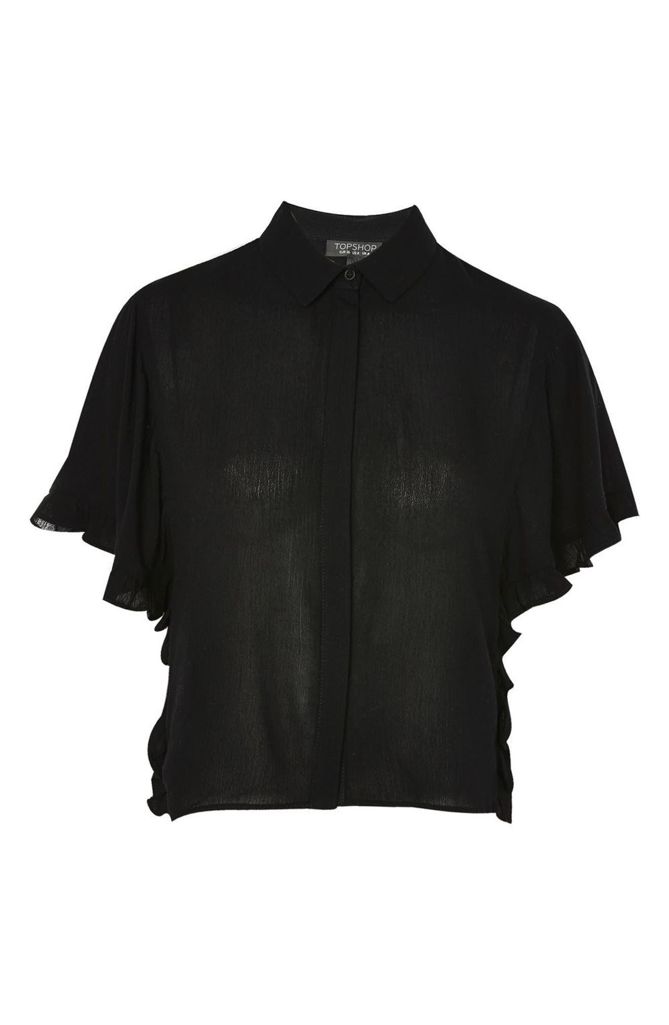 Katie Frill Sleeve Shirt,                             Alternate thumbnail 3, color,                             001