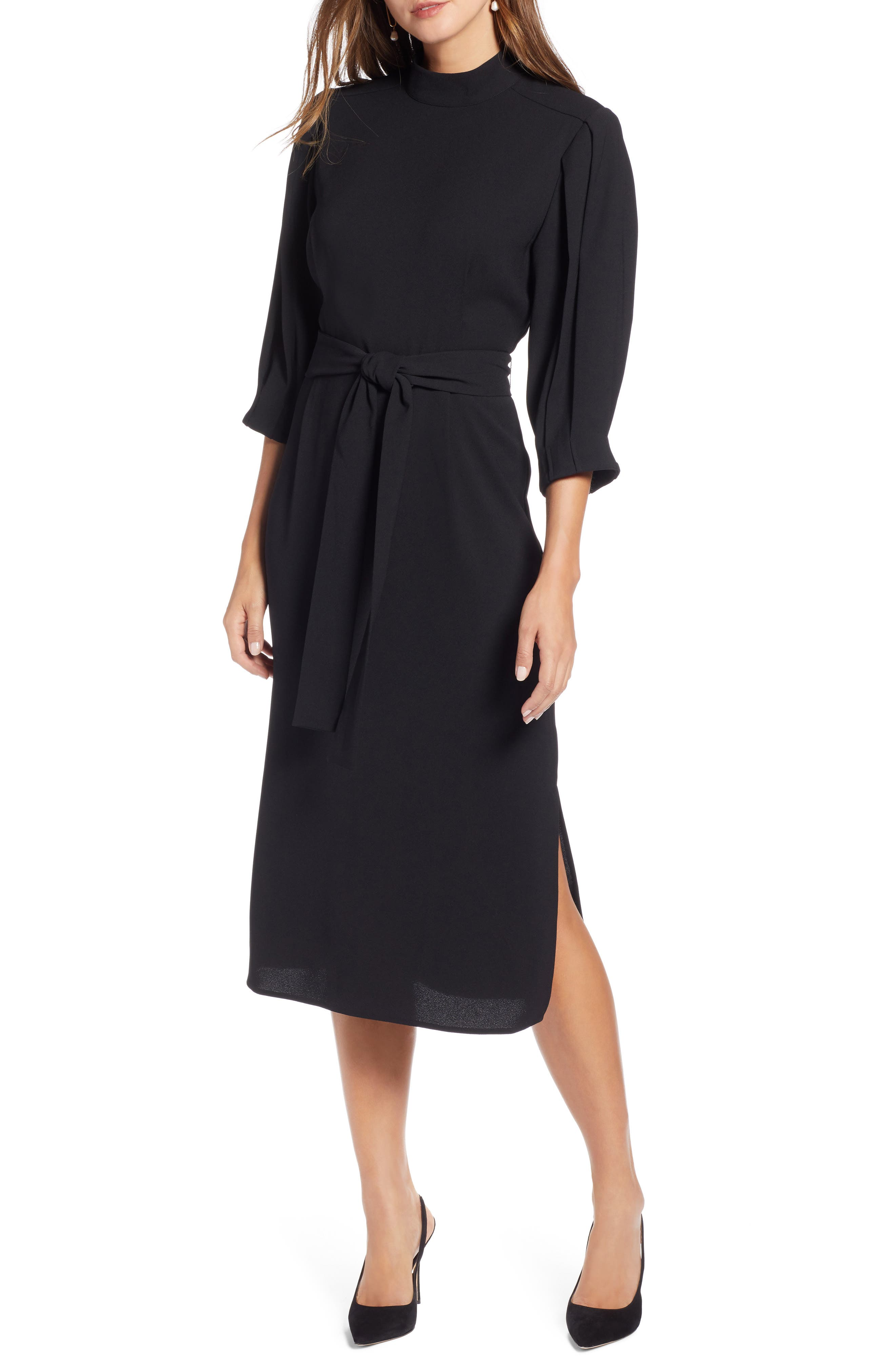 HALOGEN<SUP>®</SUP> Tie Waist Dress, Main, color, 001