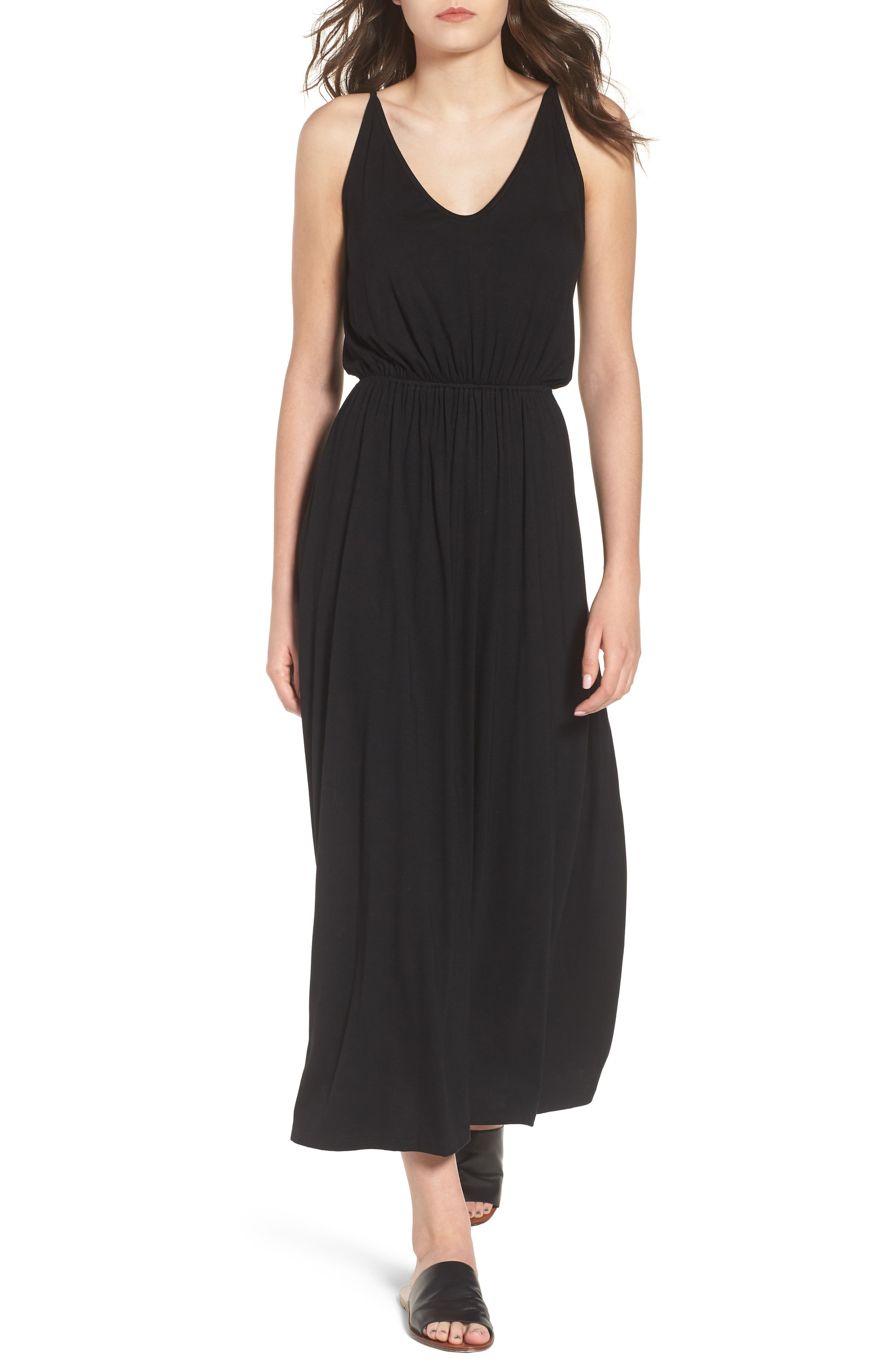 V-Neck Maxi Dress,                             Main thumbnail 1, color,                             001