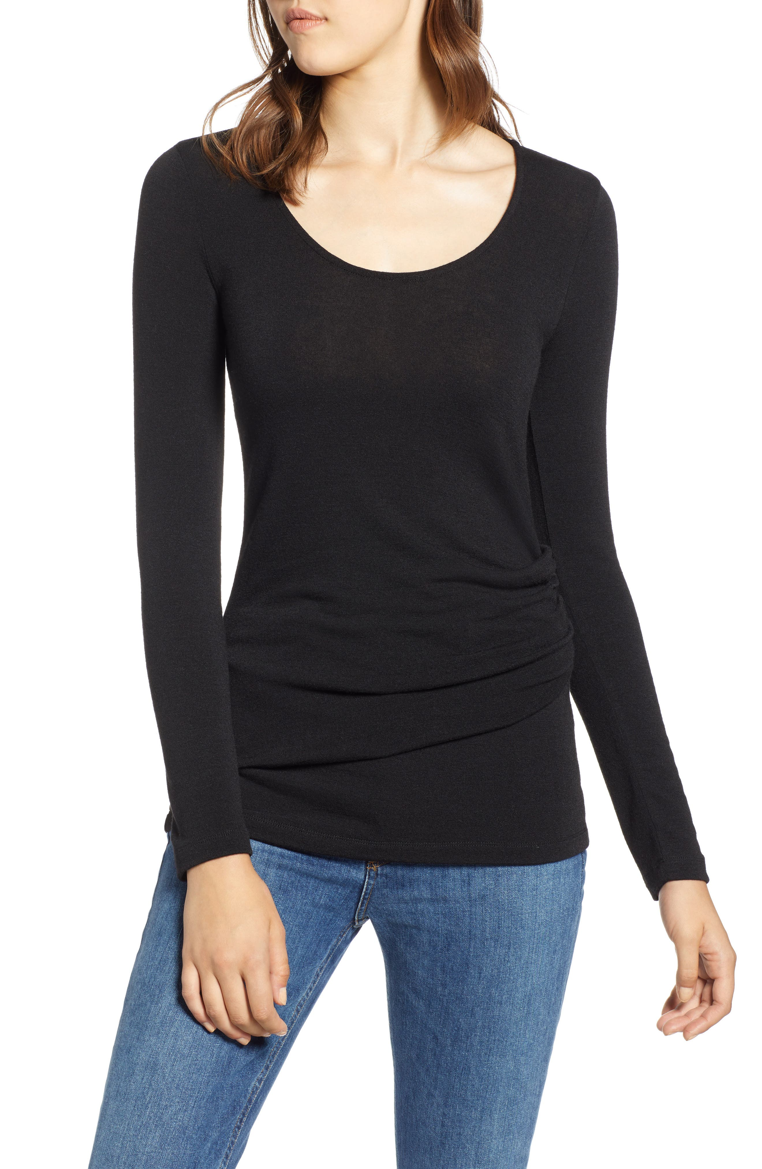 Ruched Top,                         Main,                         color, 001
