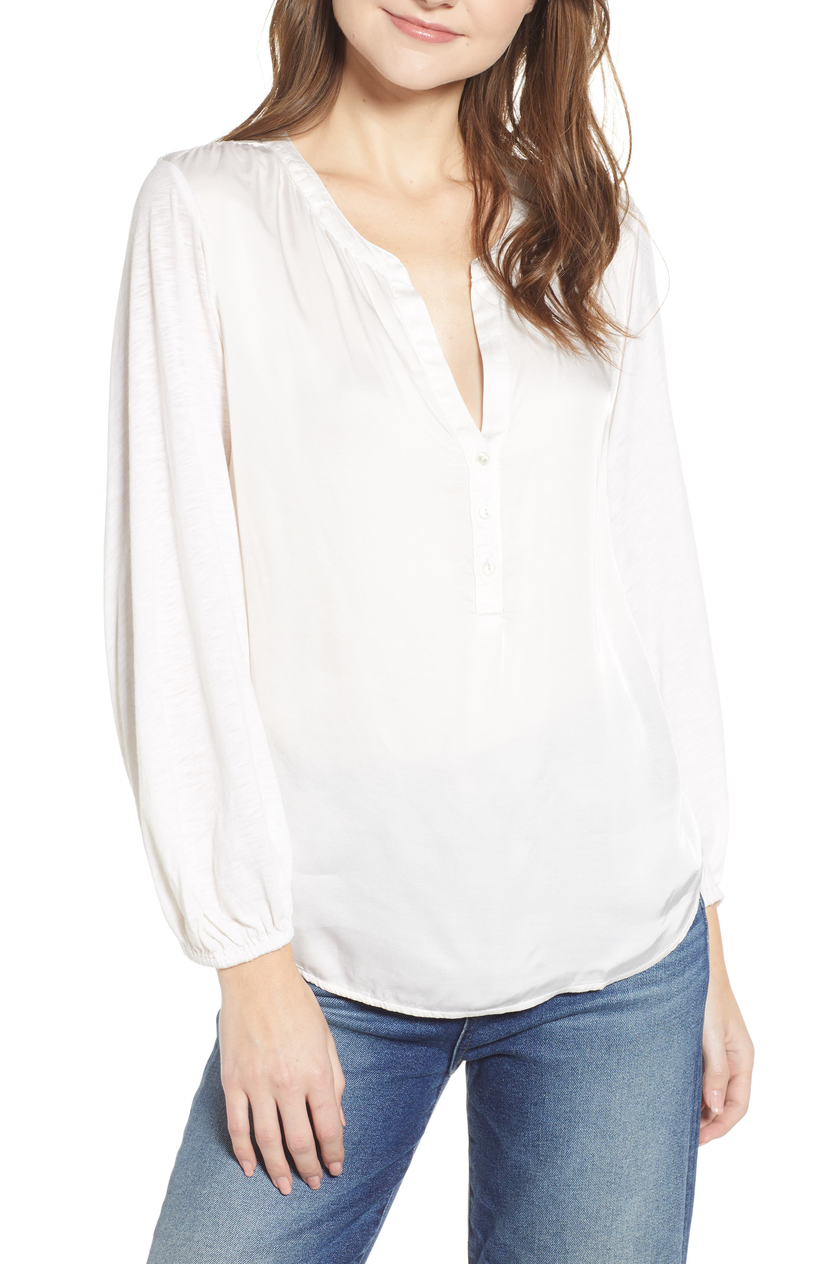 Mixed Media Cotton Blend Top,                         Main,                         color, IVORY