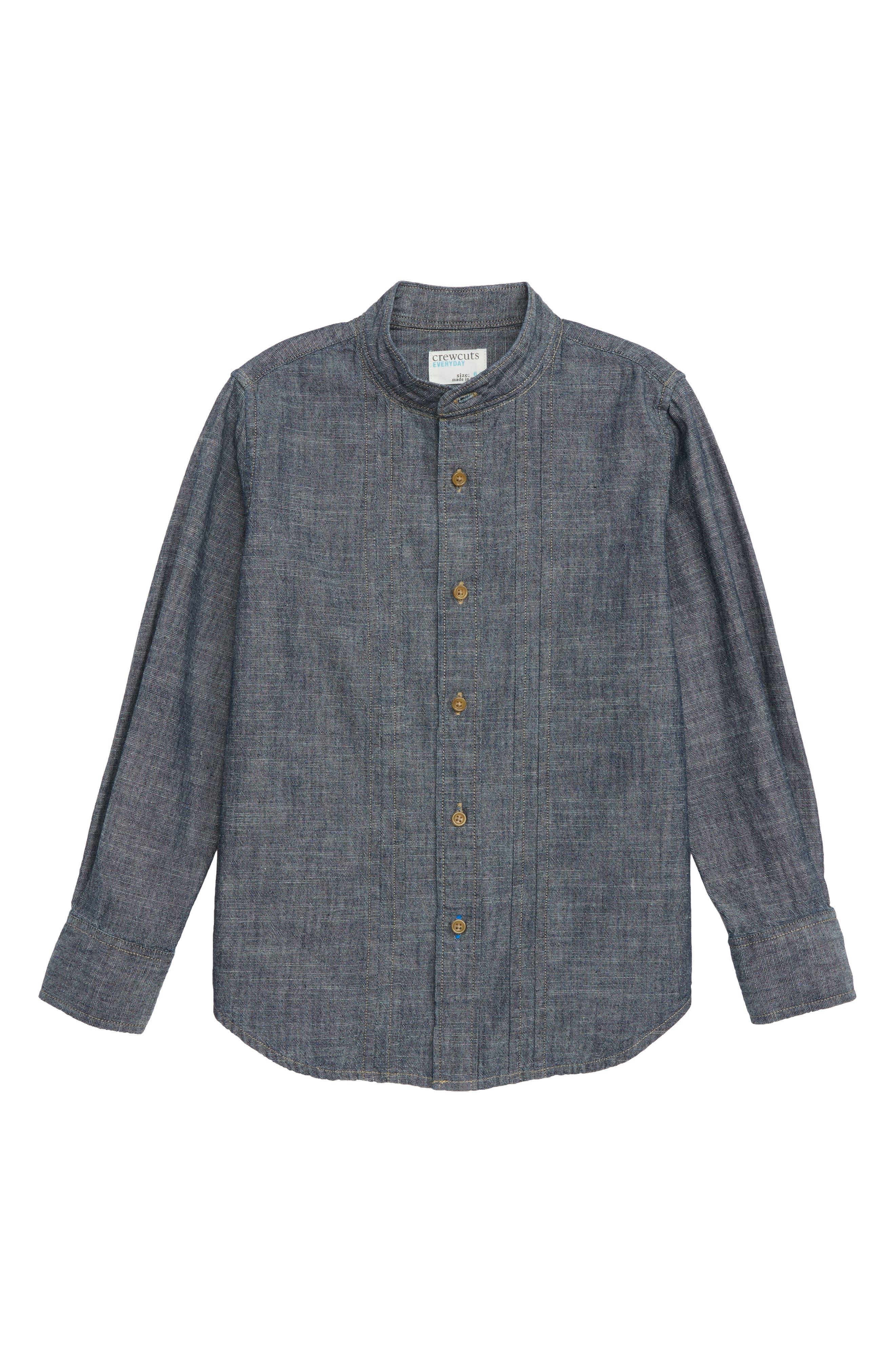 Chambray Band Collar Shirt, Main, color, INDIGO WASH