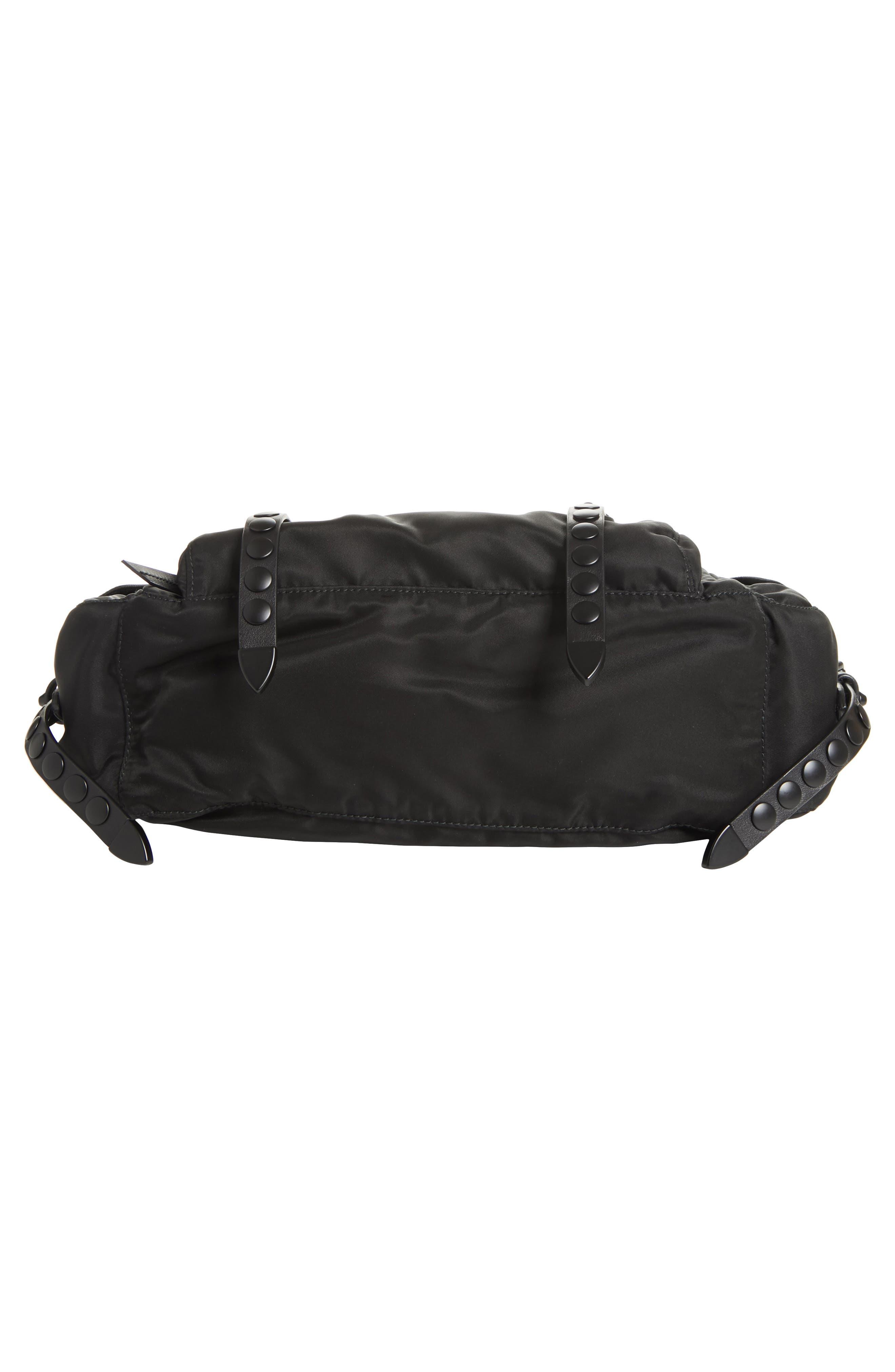 Studded Nylon Messenger Bag,                             Alternate thumbnail 7, color,                             002