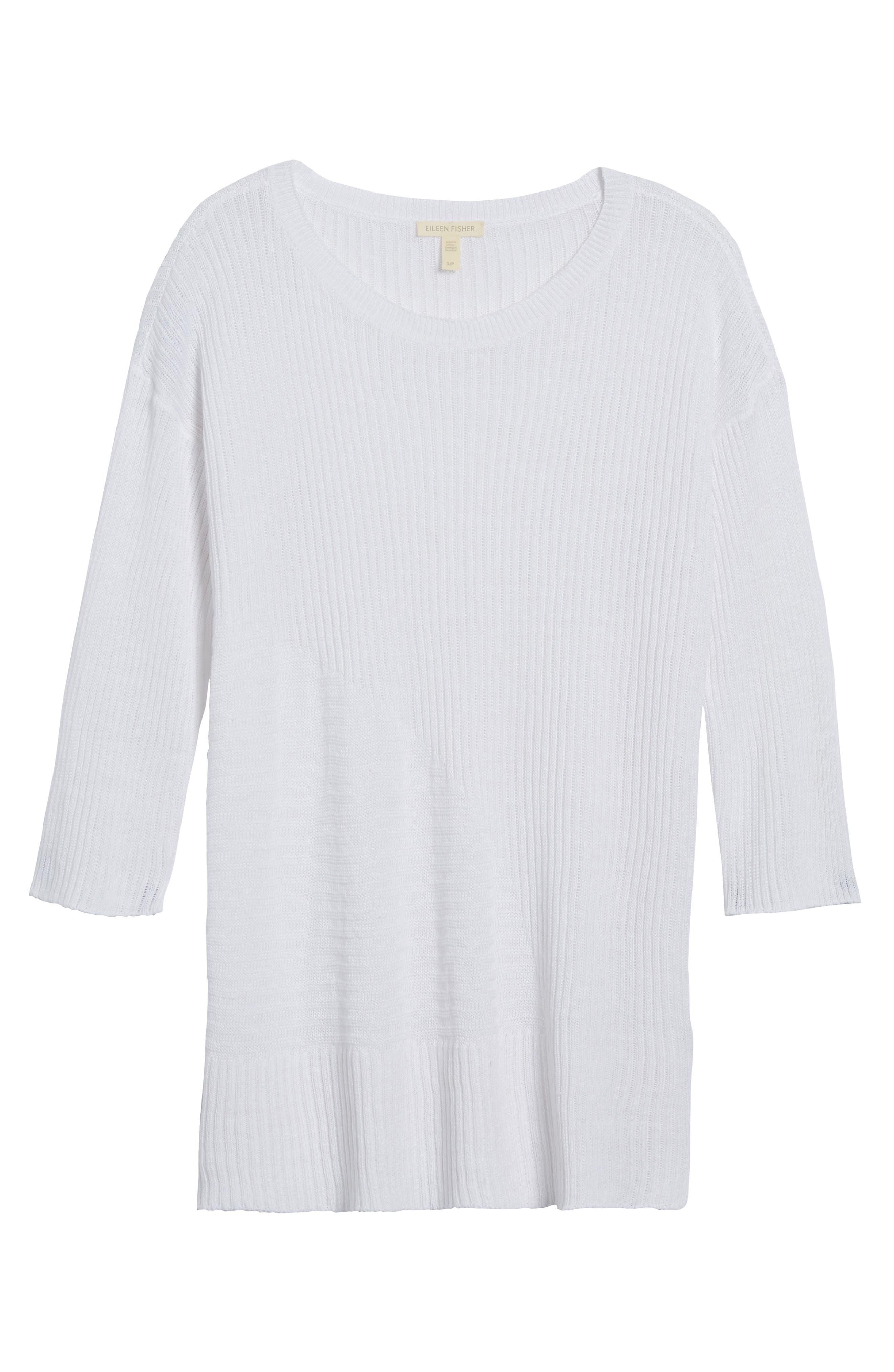 Organic Linen Tunic Sweater,                             Alternate thumbnail 6, color,                             100