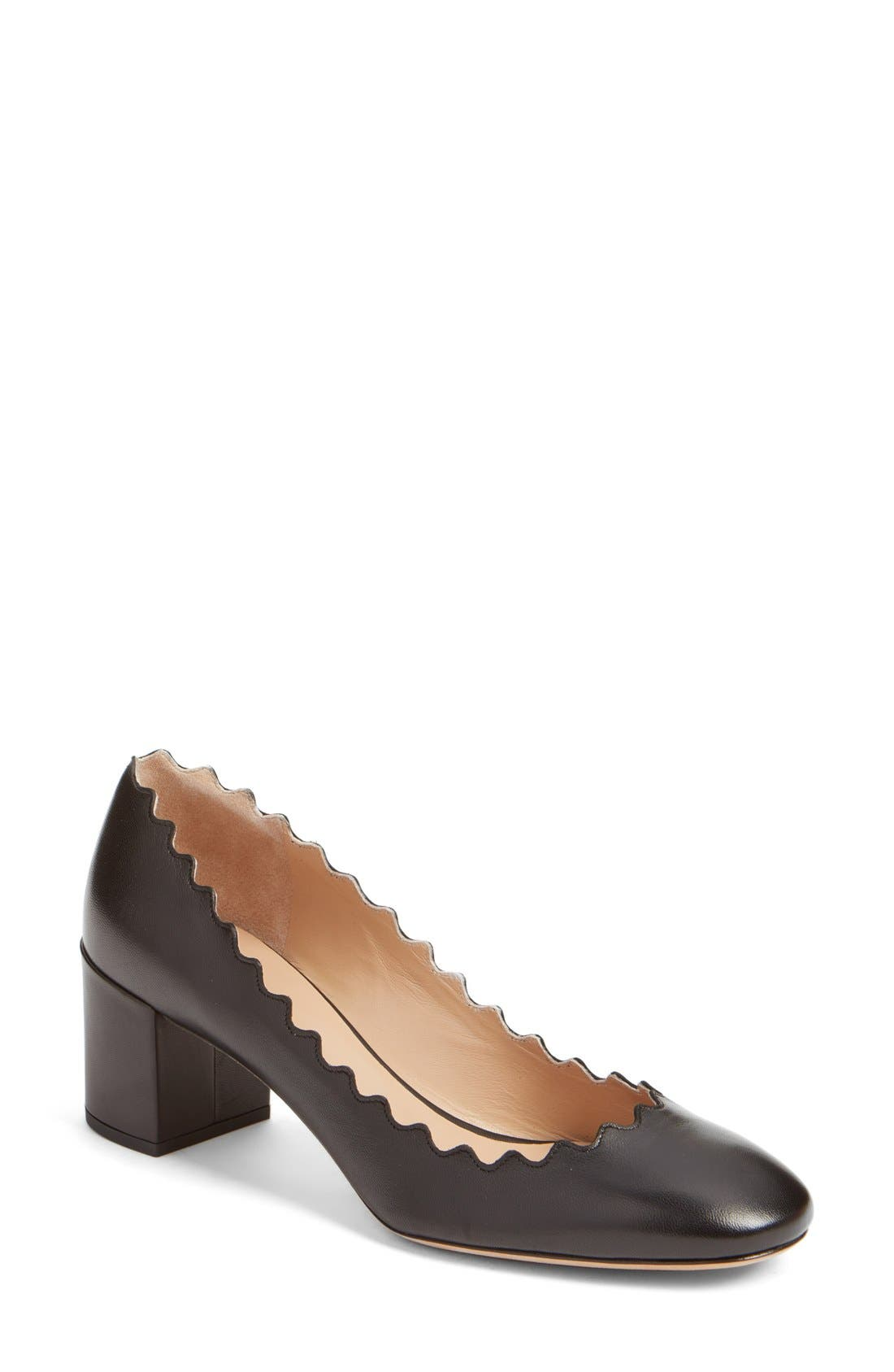 Lauren Scalloped Pump,                             Main thumbnail 1, color,                             BLACK