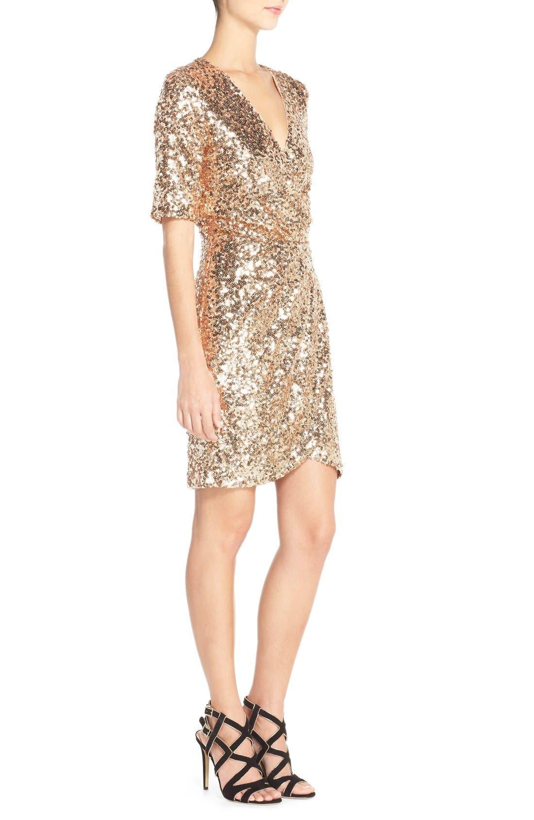 Sequin Mesh Faux Wrap Dress,                             Alternate thumbnail 4, color,