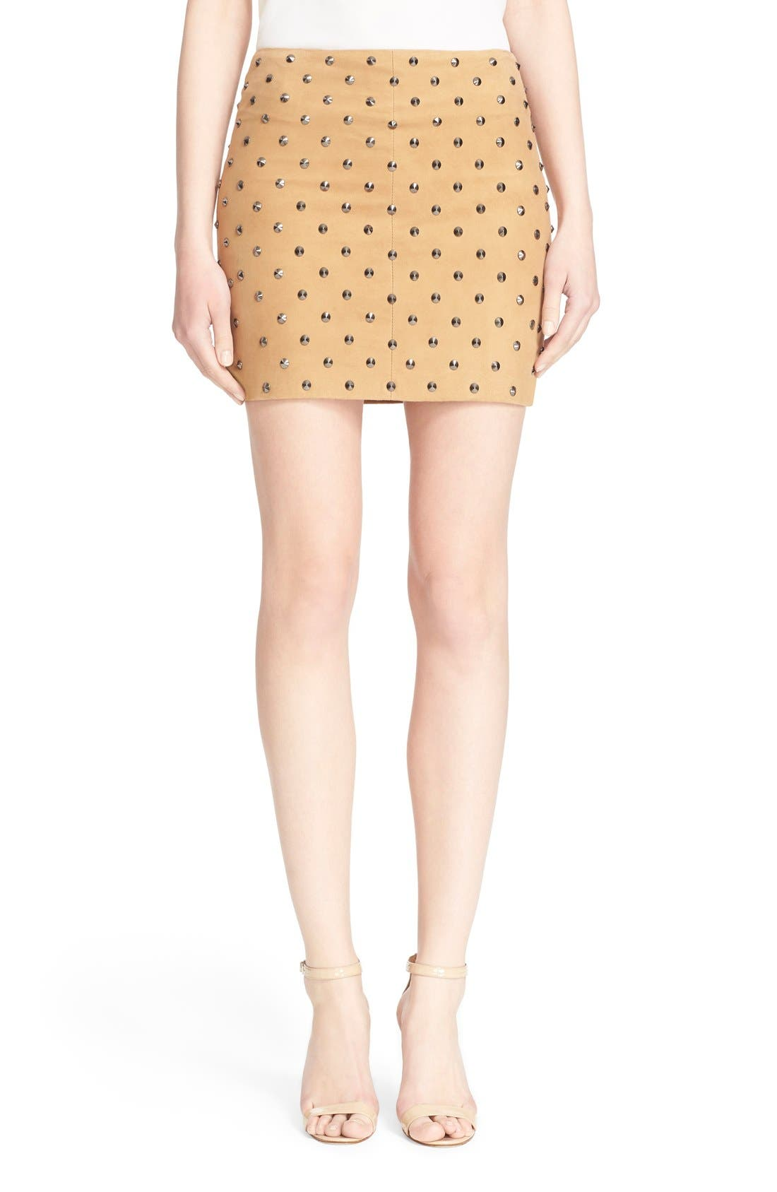 'Elana' Studded Suede Miniskirt,                             Main thumbnail 1, color,