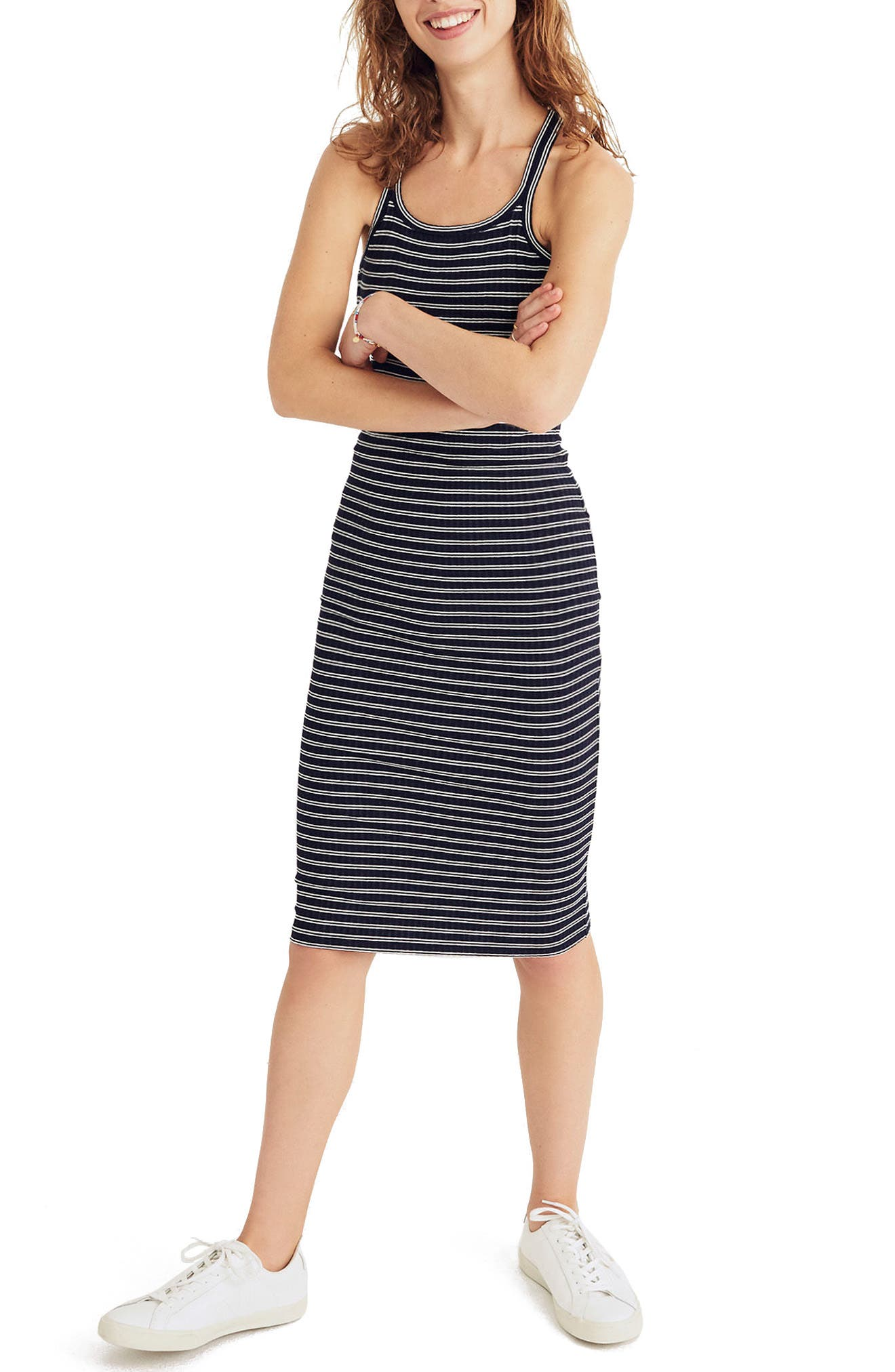 MADEWELL Striped Racerback Midi Dress, Main, color, 400