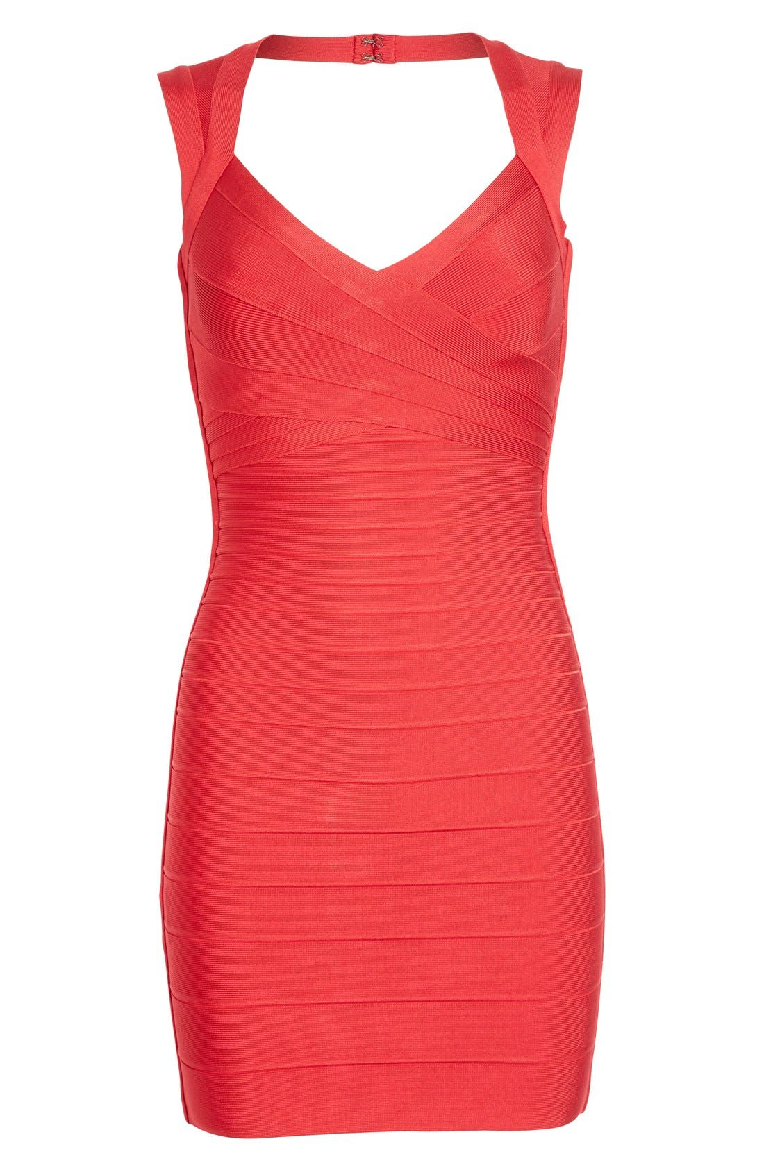 HERVE LEGER,                             Open Back Bandage Dress,                             Alternate thumbnail 4, color,                             616