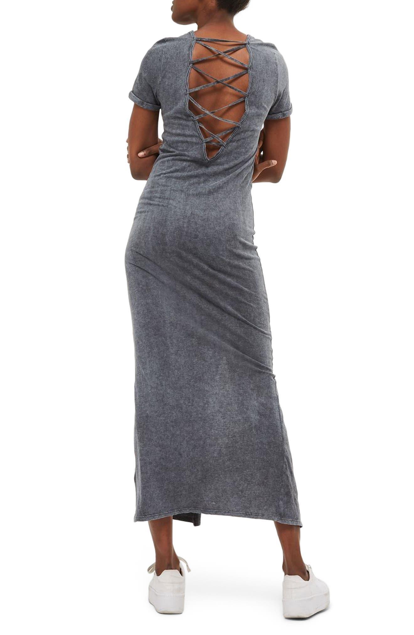 Lattice Back Jersey Maxi Dress,                             Alternate thumbnail 2, color,                             020