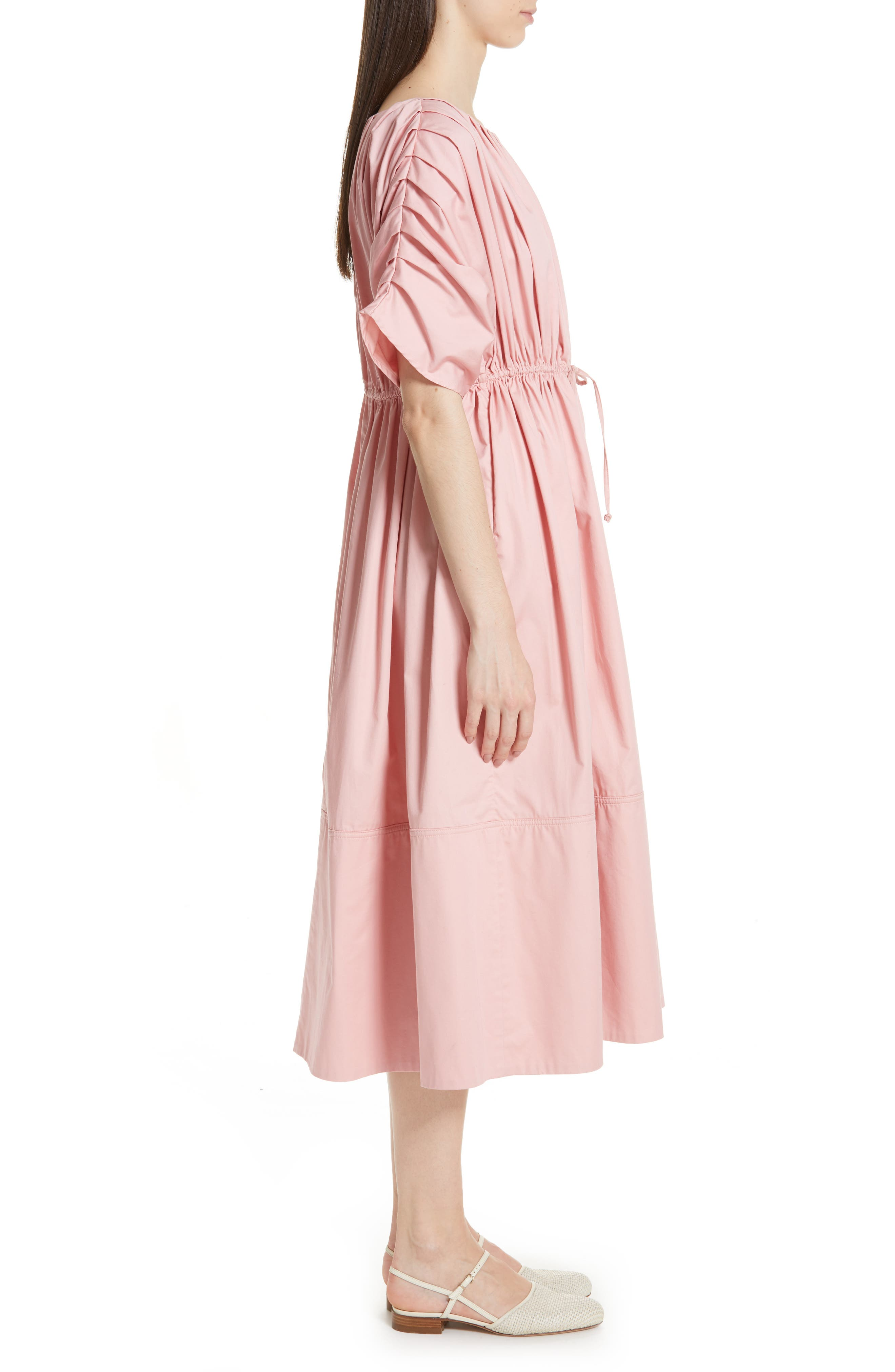 Pleated Cotton Midi Dress,                             Alternate thumbnail 3, color,                             PINK