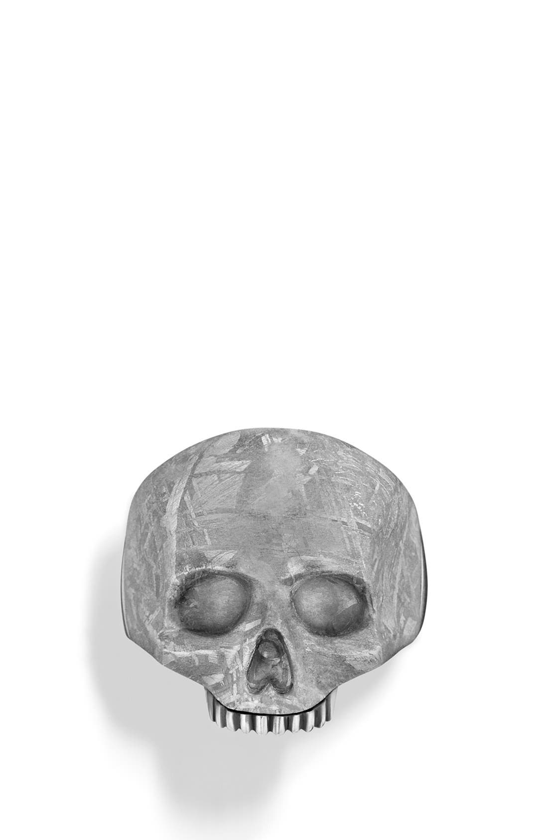 'Skull' Ring with Carved Meteorite,                             Alternate thumbnail 2, color,                             METEORITE
