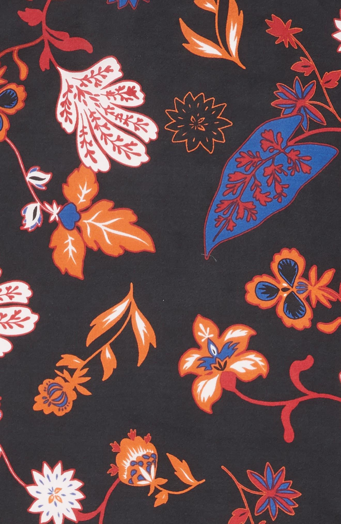 Funky Foliage Square Silk Scarf,                             Alternate thumbnail 4, color,                             001