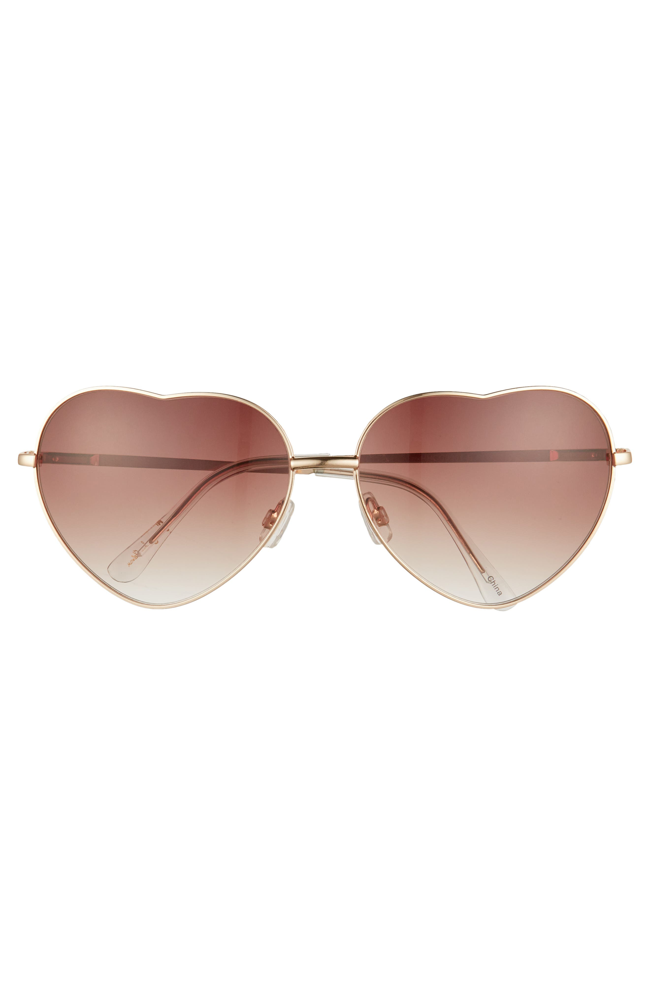 60mm Metal Heart Sunglasses,                             Alternate thumbnail 8, color,