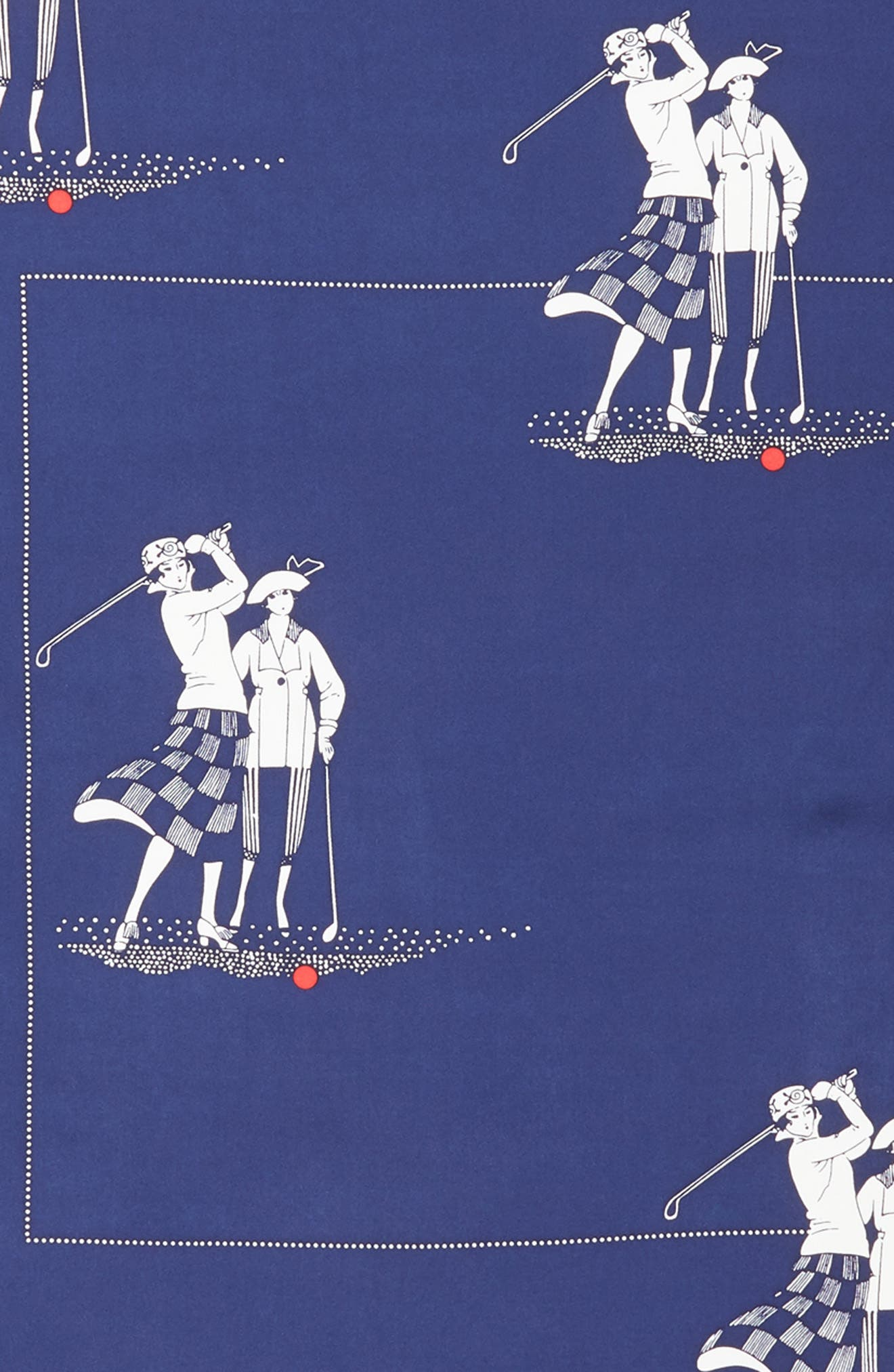 Golf Day Square Silk Scarf,                             Alternate thumbnail 4, color,                             MARITIME NAVY