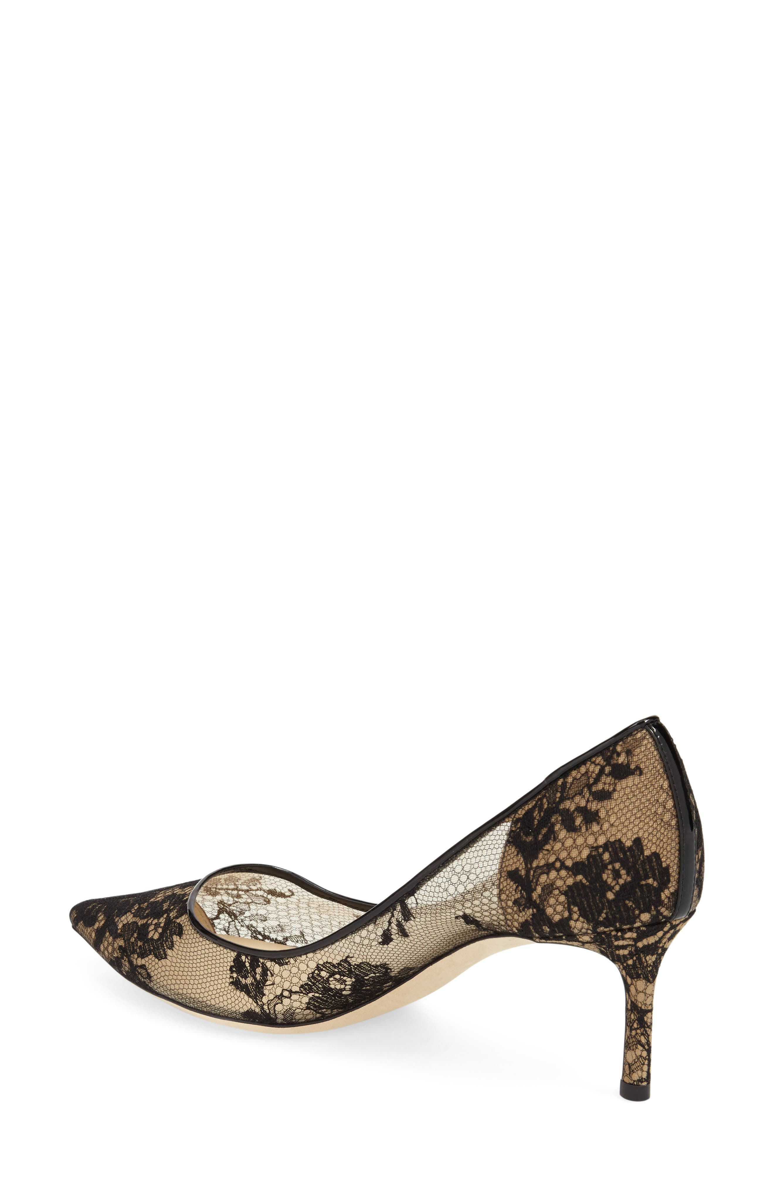 JIMMY CHOO,                             'Romy' Lace Pointy Toe Pump,                             Alternate thumbnail 4, color,                             002
