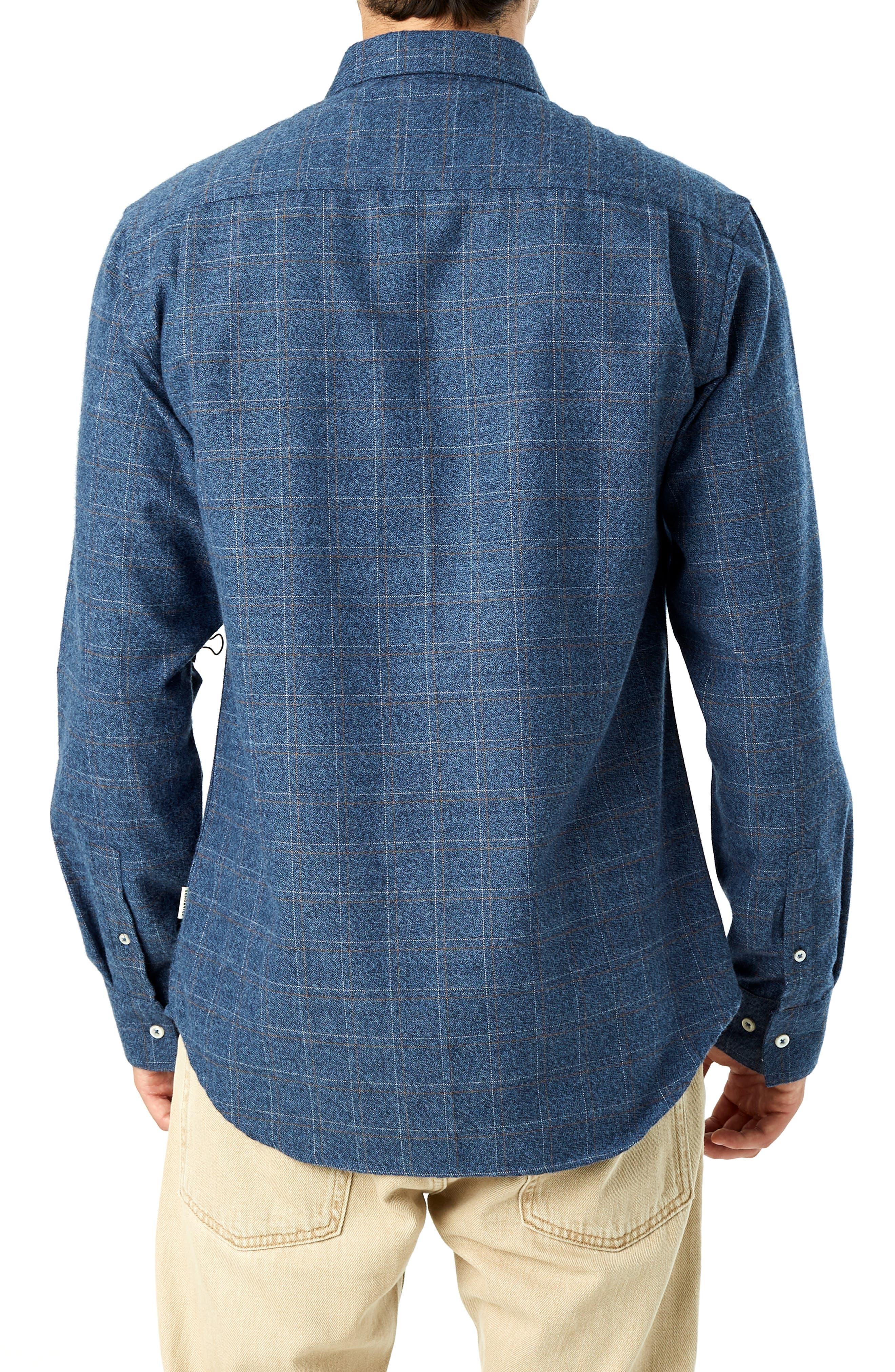 Trim Fit Check Flannel Shirt,                             Alternate thumbnail 3, color,                             410
