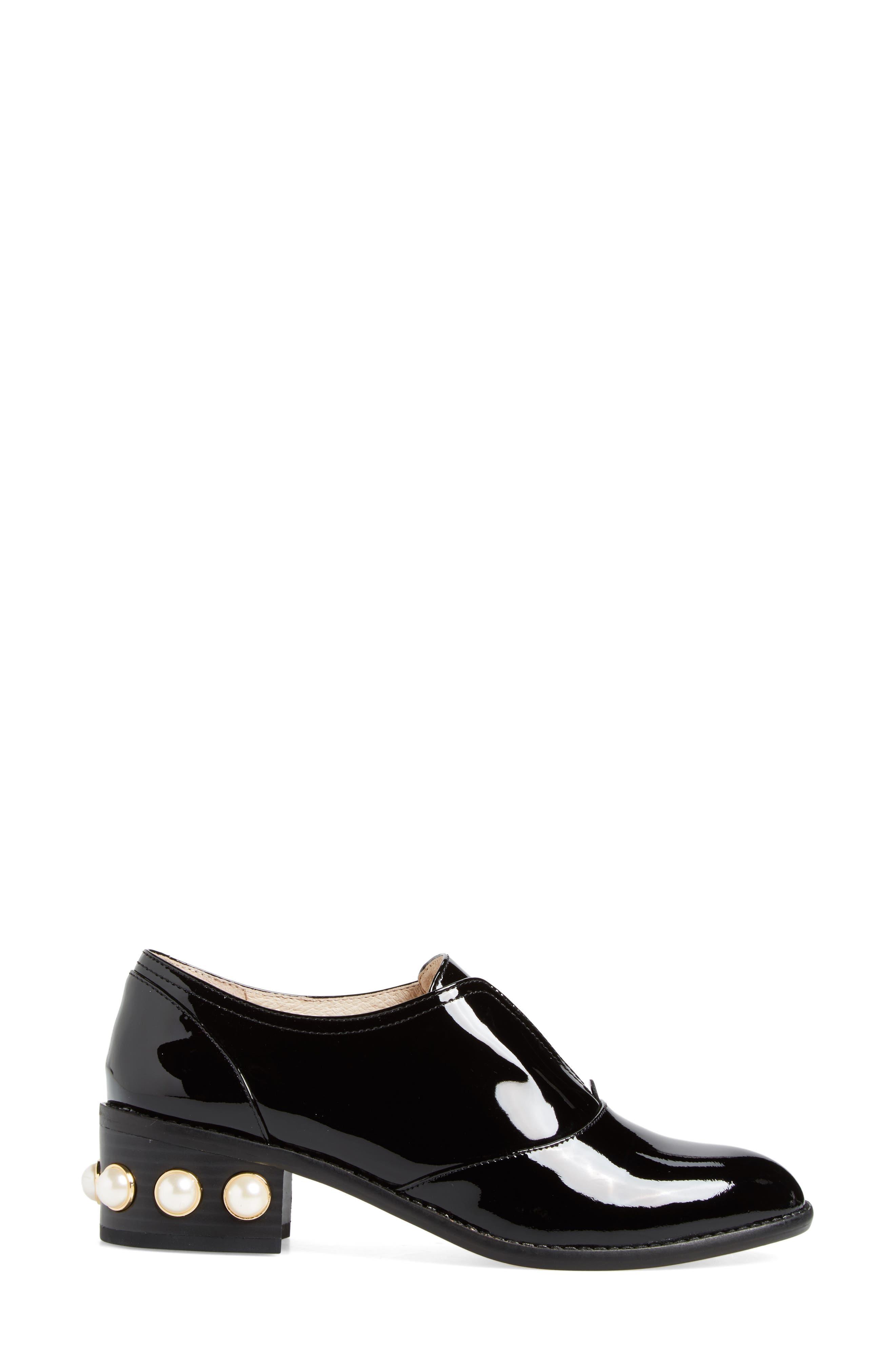 Franley Embellished Heel Oxford,                             Alternate thumbnail 3, color,                             001